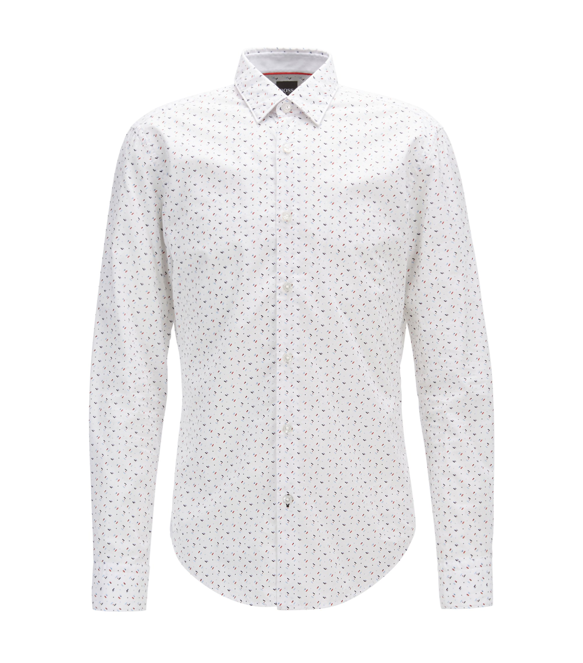 Printed slim-fit shirt in washed cotton poplin, White