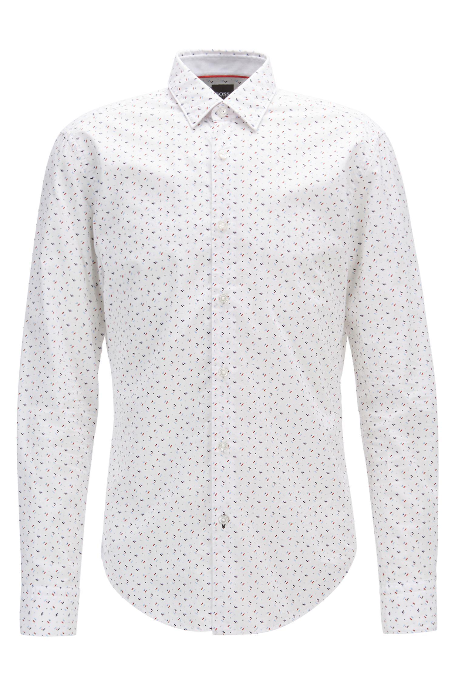 Camicia slim fit stampata in popeline di cotone lavato