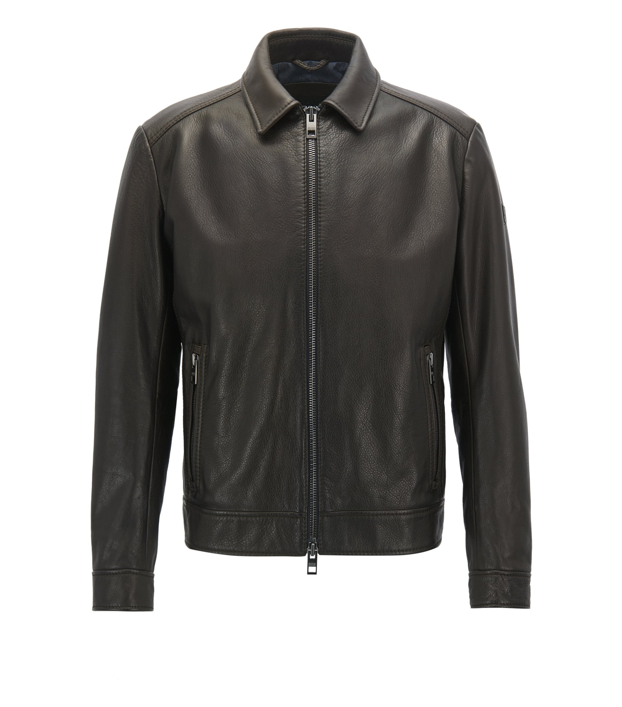 Slim-fit jacket in smooth waxed leather, Dark Brown