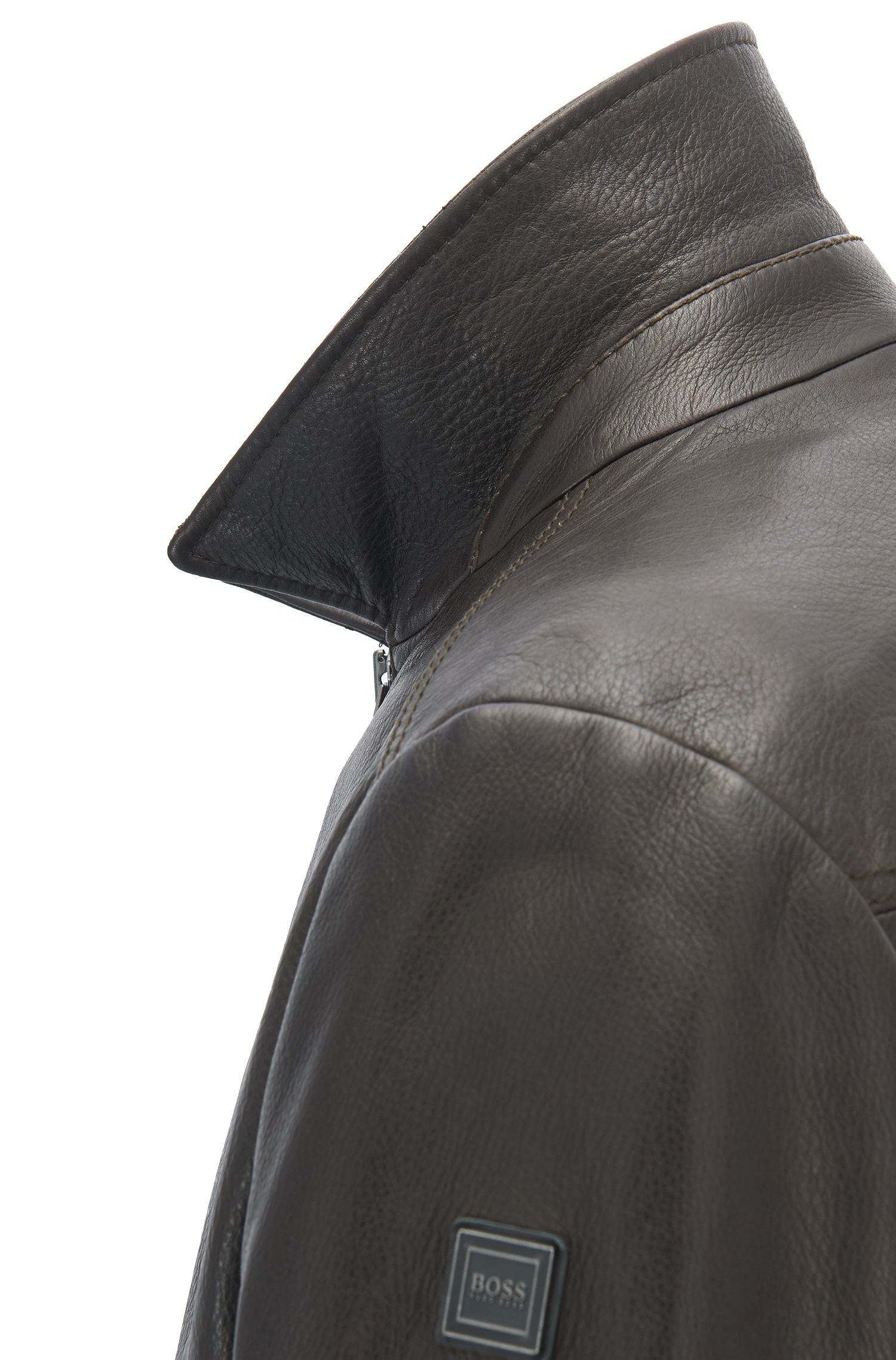 Slim-fit jacket in smooth waxed leather