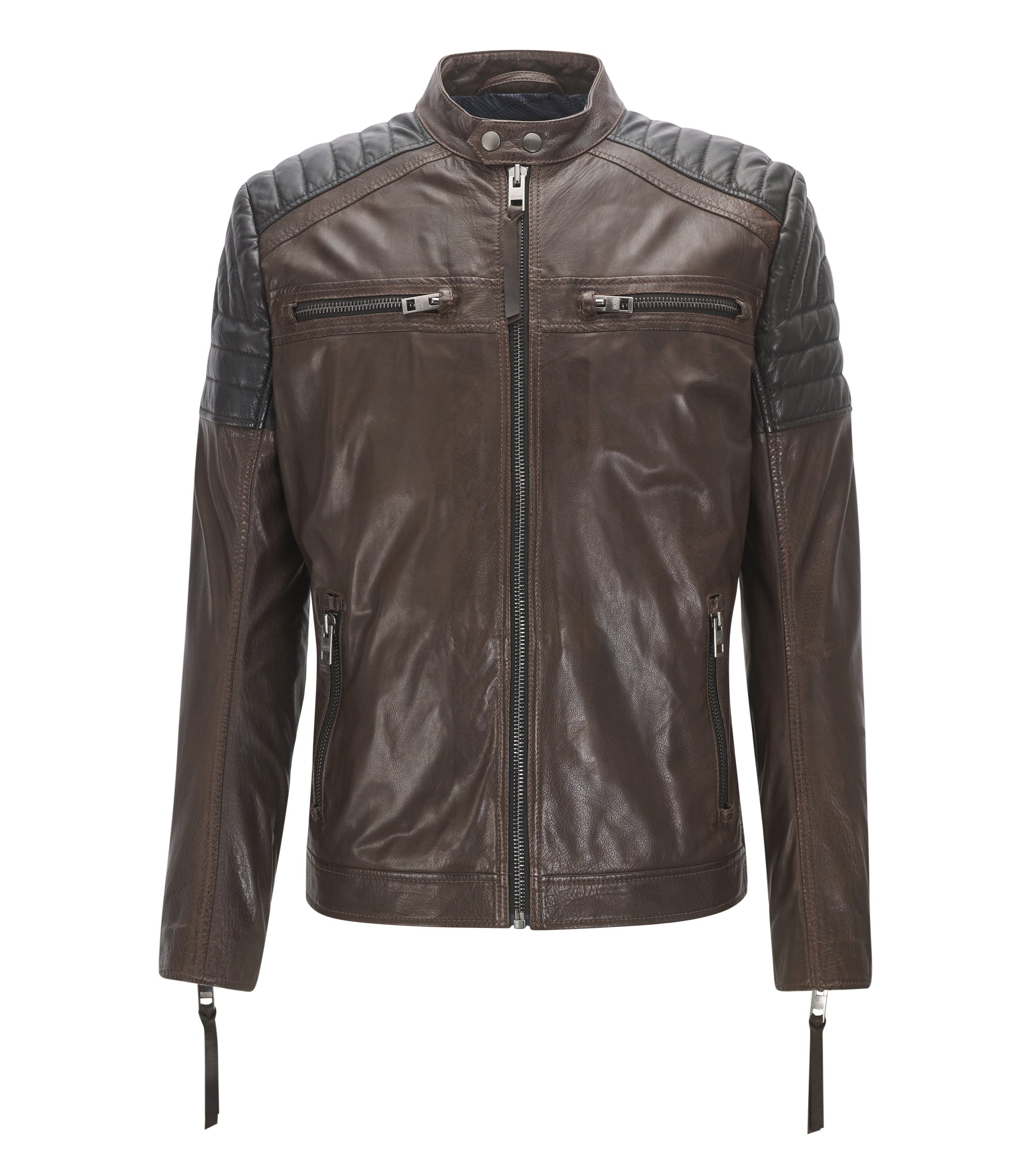 Biker jacket in pull-up waxed calf leather, Dark Brown