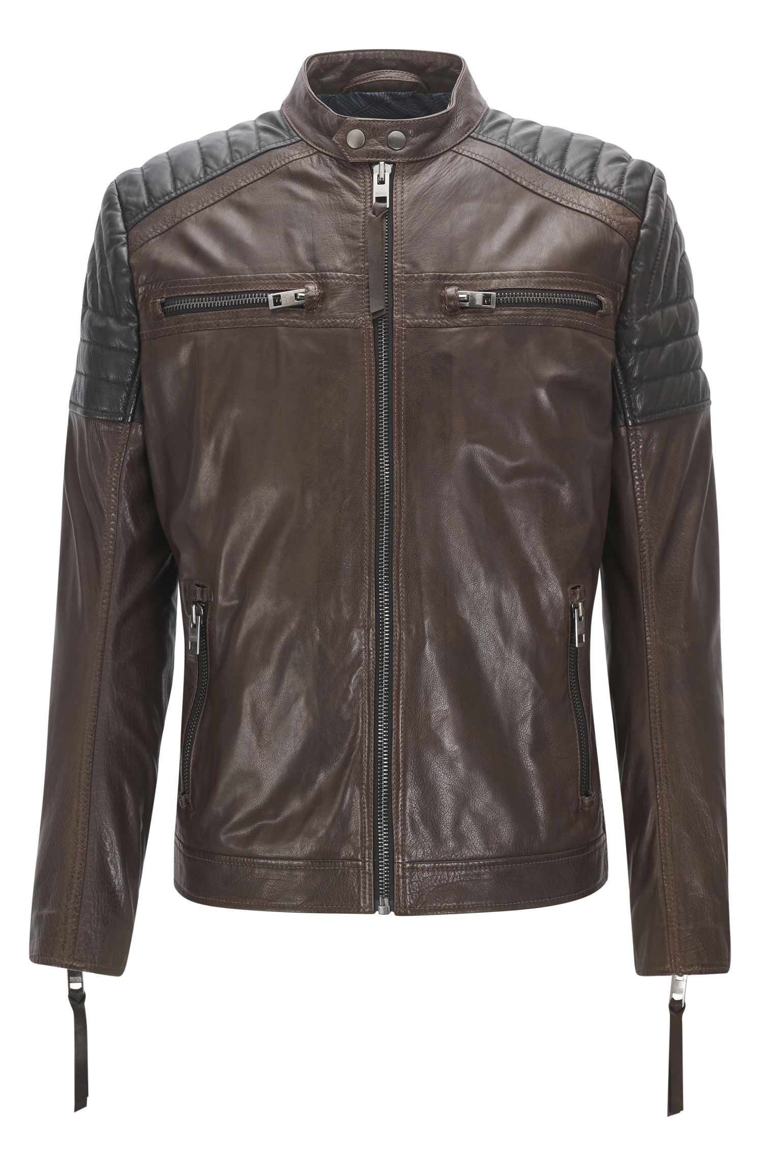 Biker jacket in pull-up waxed calf leather