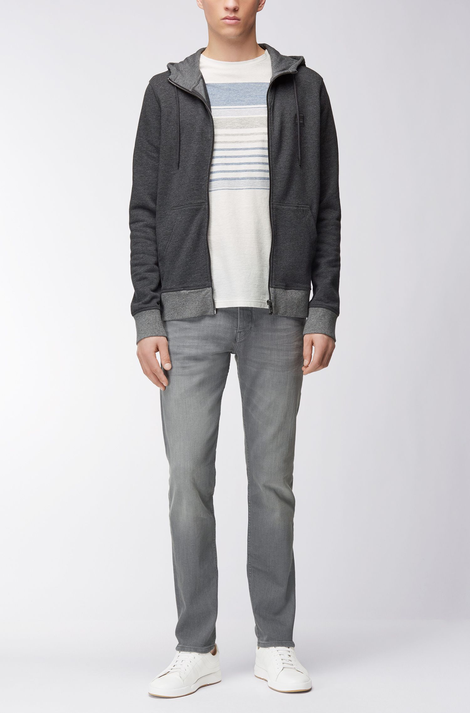Regular-fit zip-through jacket in French terry