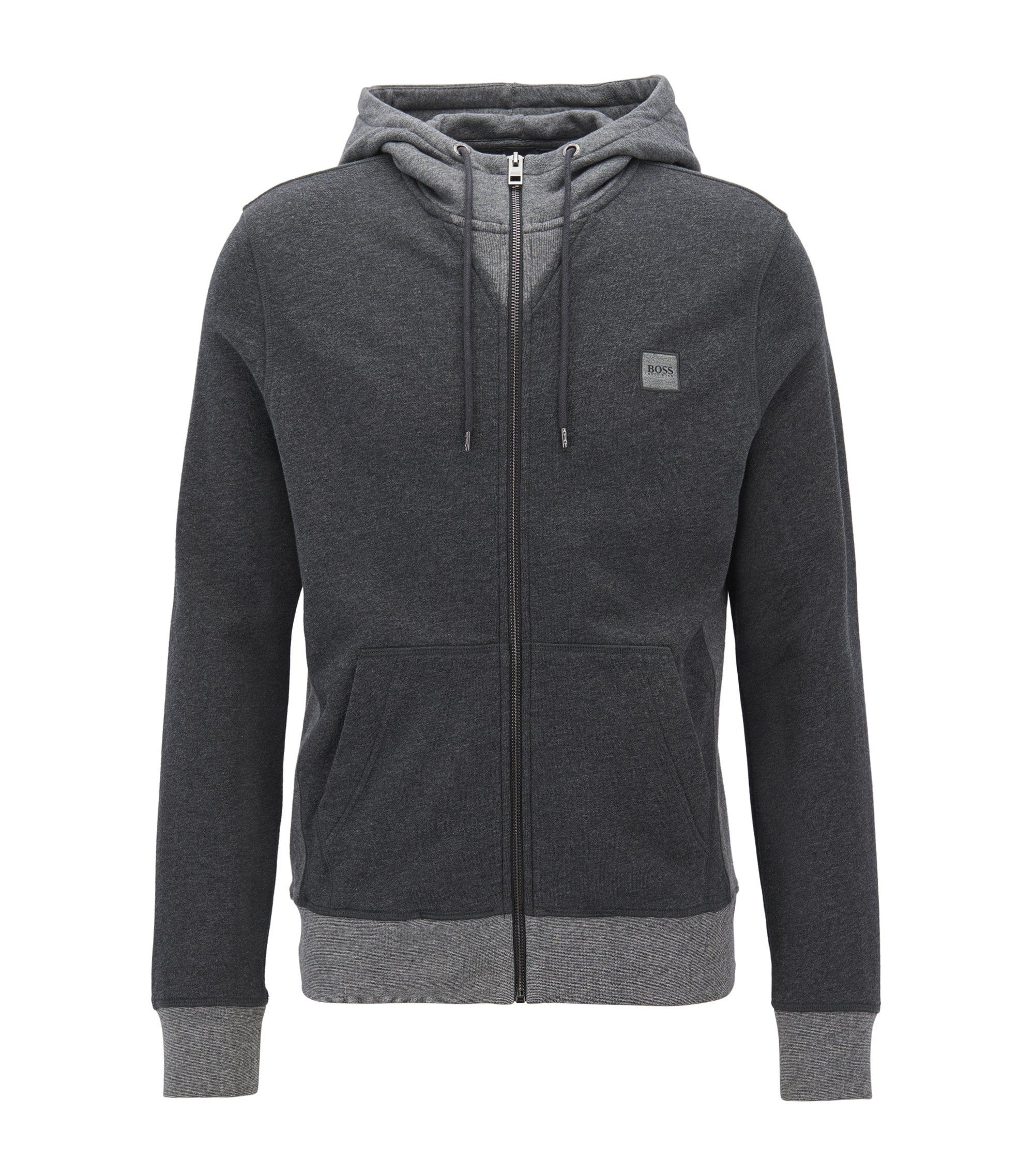 Giacca regular fit con zip integrale in french terry, Grigio antracite