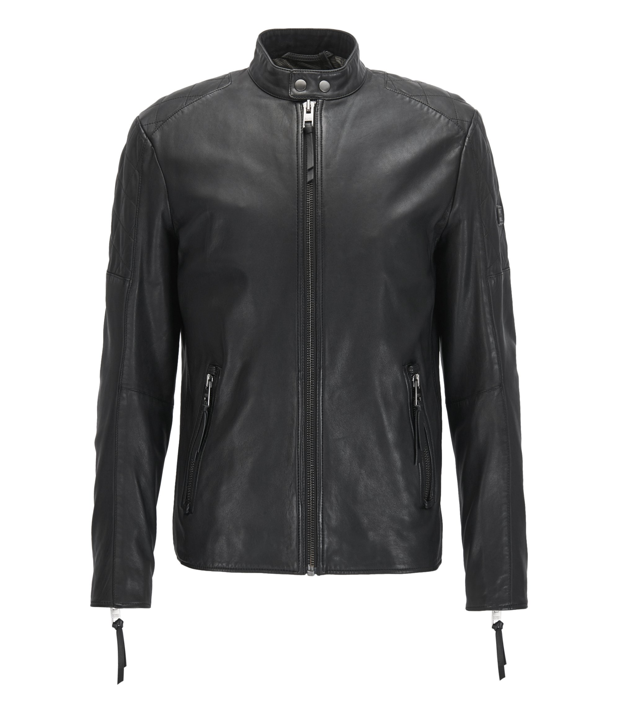 Slim-fit biker jacket in hand-treated leather, Black