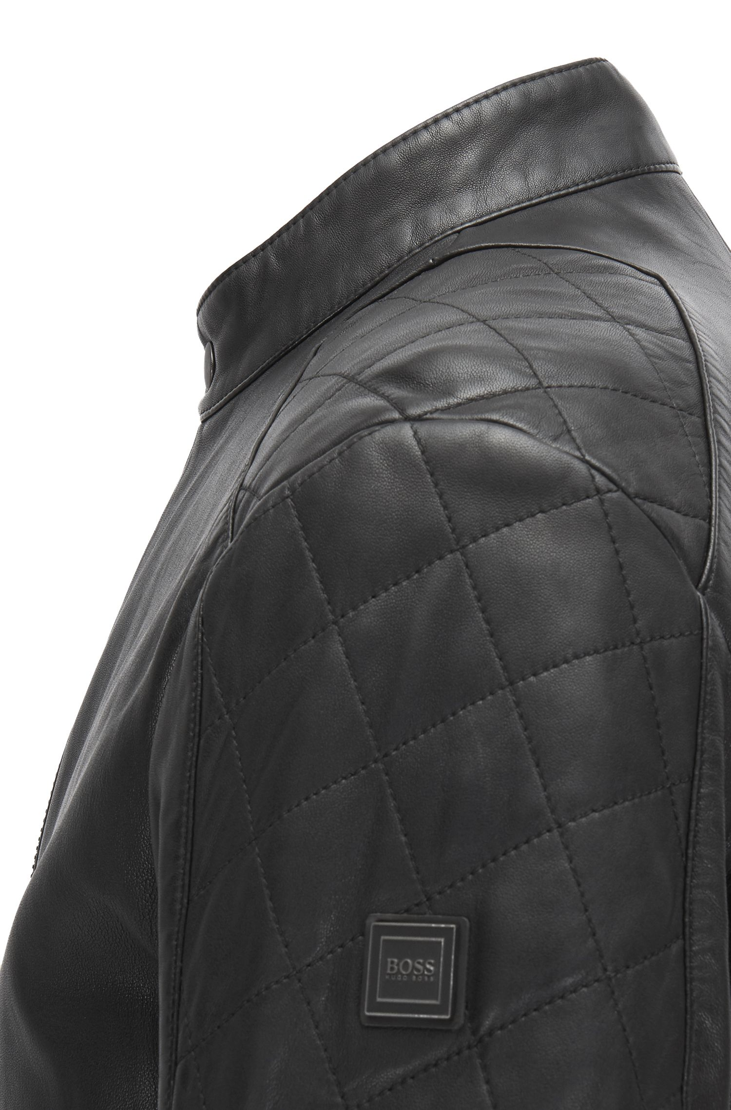 Blouson de motard Slim Fit en cuir traité à la main