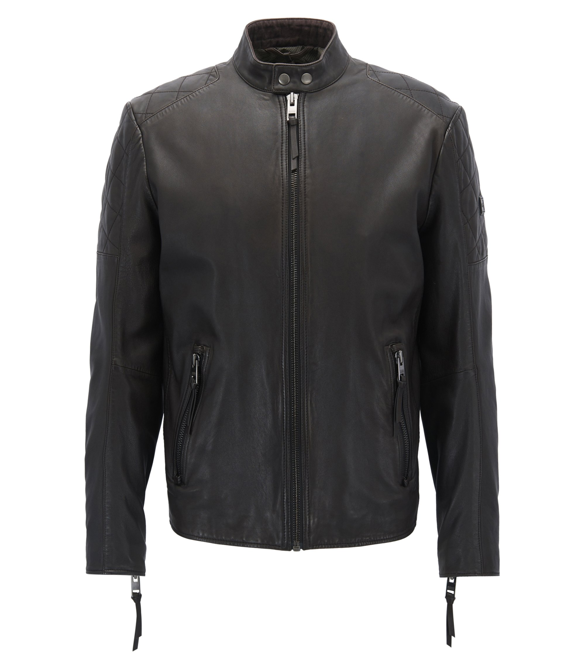 Slim-fit biker jacket in hand-treated leather, Dark Brown