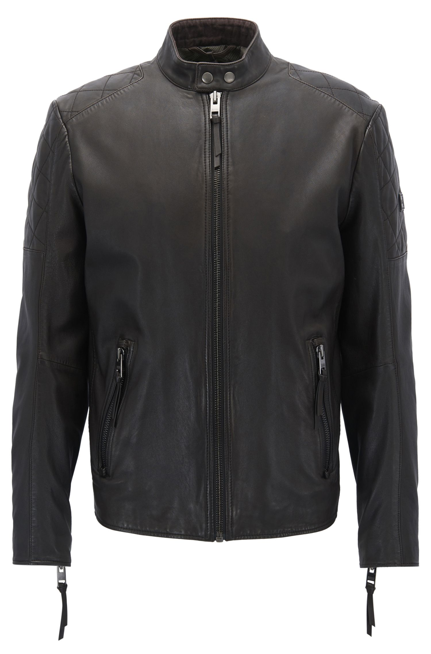 Slim-fit biker jacket in hand-treated leather