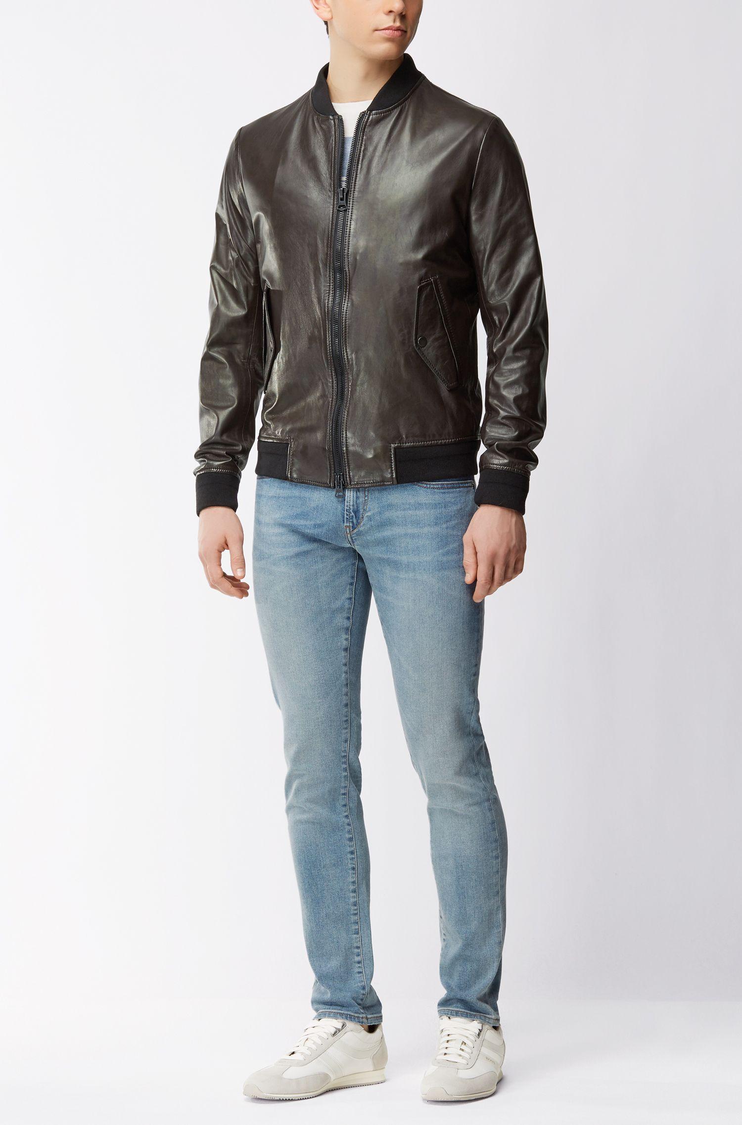 Slim-Fit Blouson aus leichtem Leder