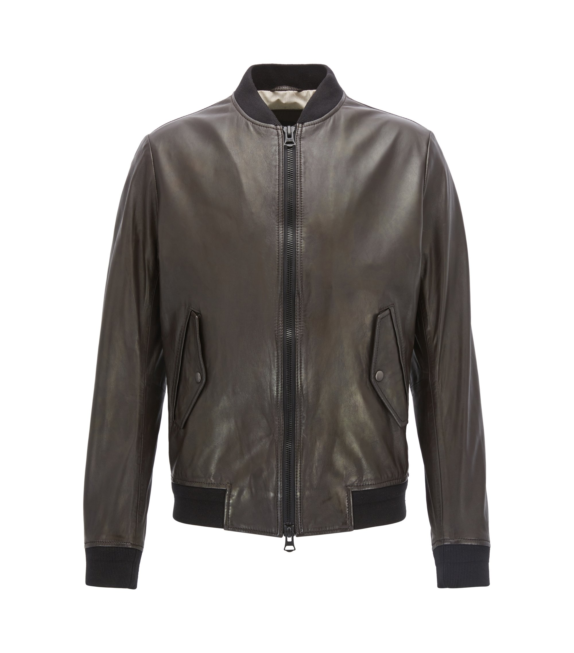 Bomber slim fit in leggera pelle d'agnello, Marrone scuro
