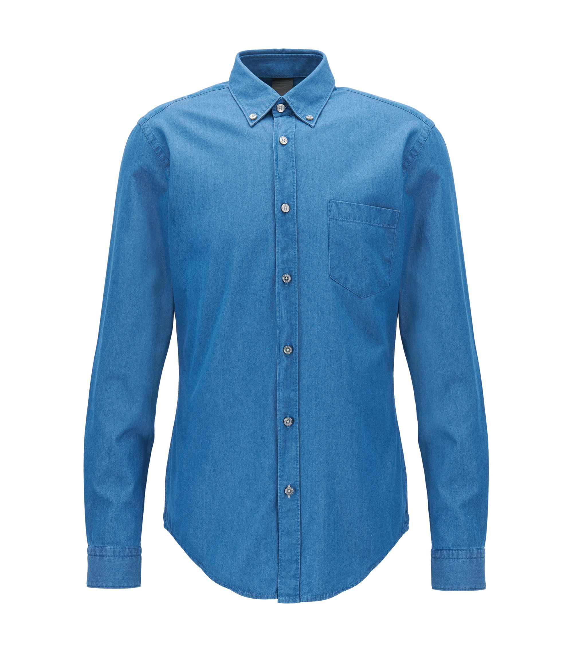 Denim-twill shirt in a slim fit, Turquoise