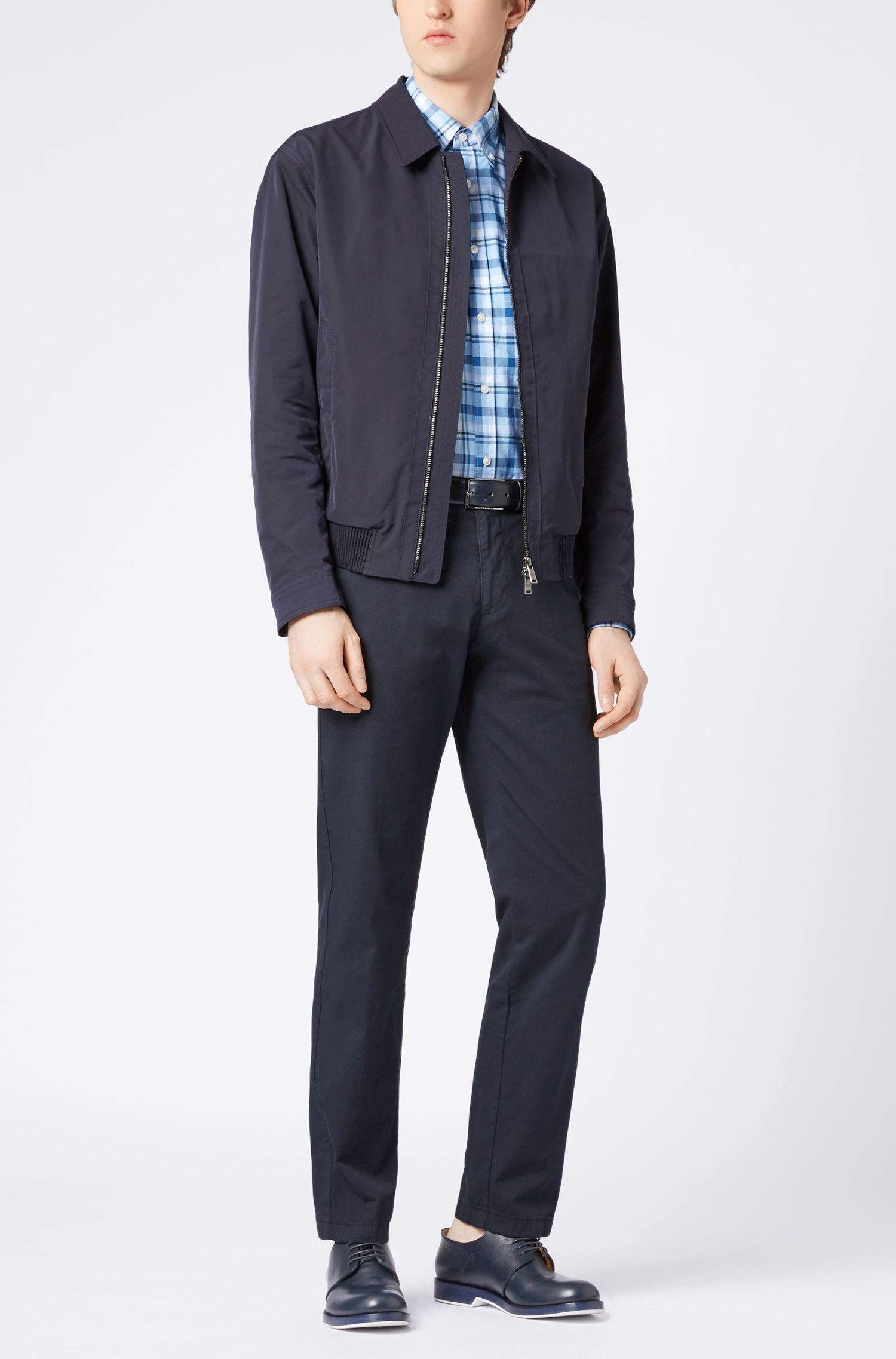 Regular-fit checked cotton Oxford shirt