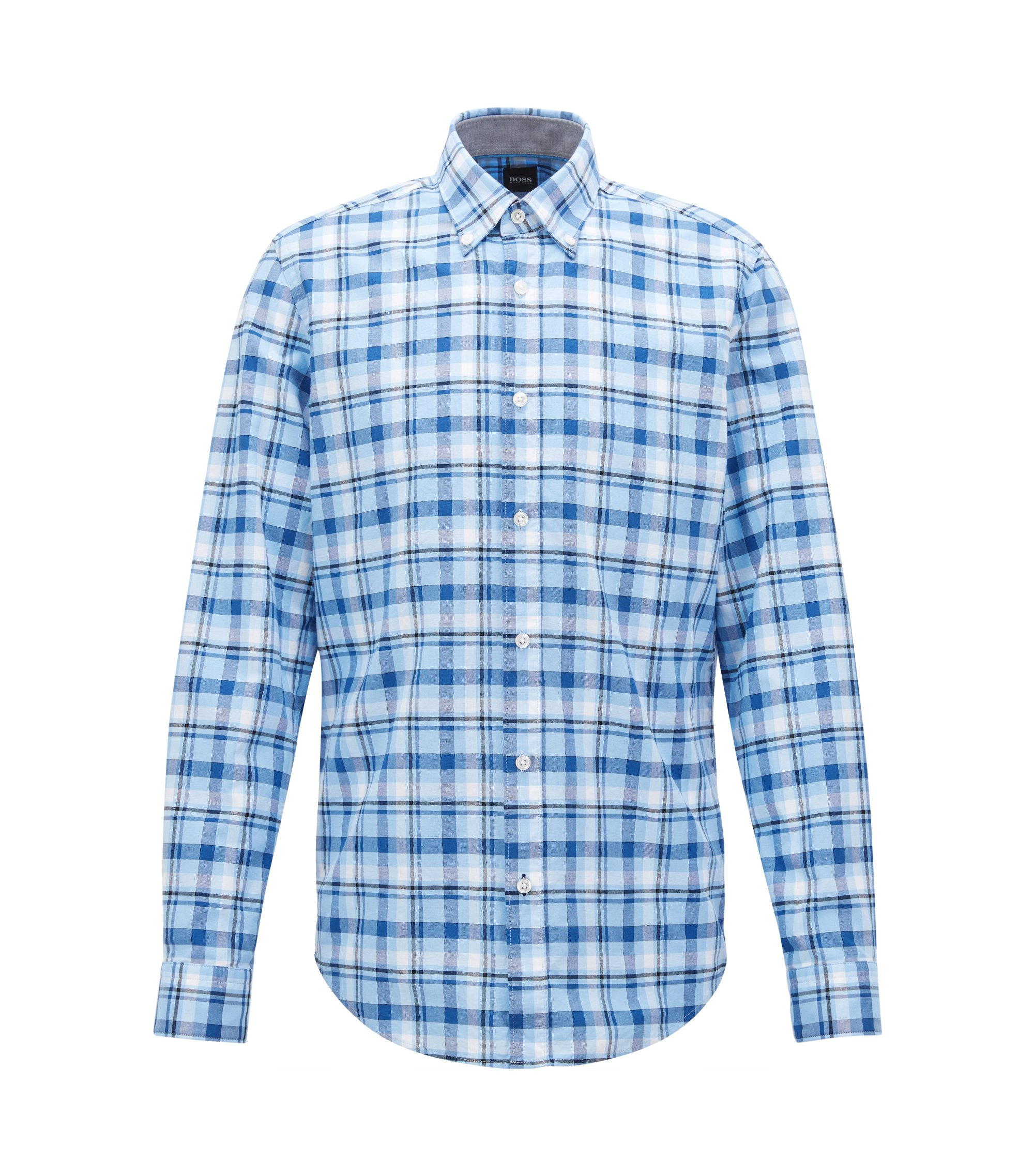 Regular-fit checked cotton Oxford shirt, Light Blue