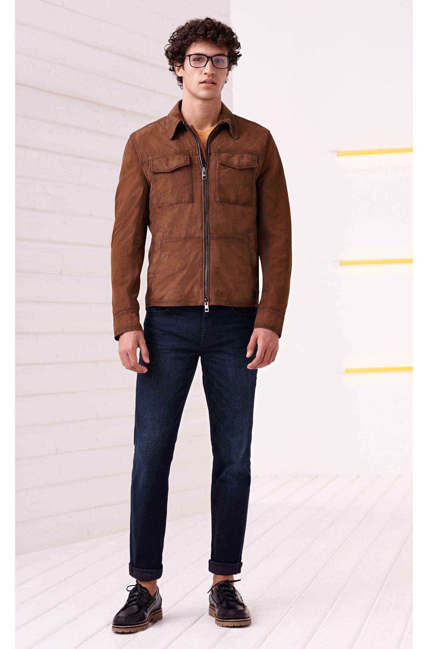 Slim-Fit Hemdjacke aus handgewachstem Leder