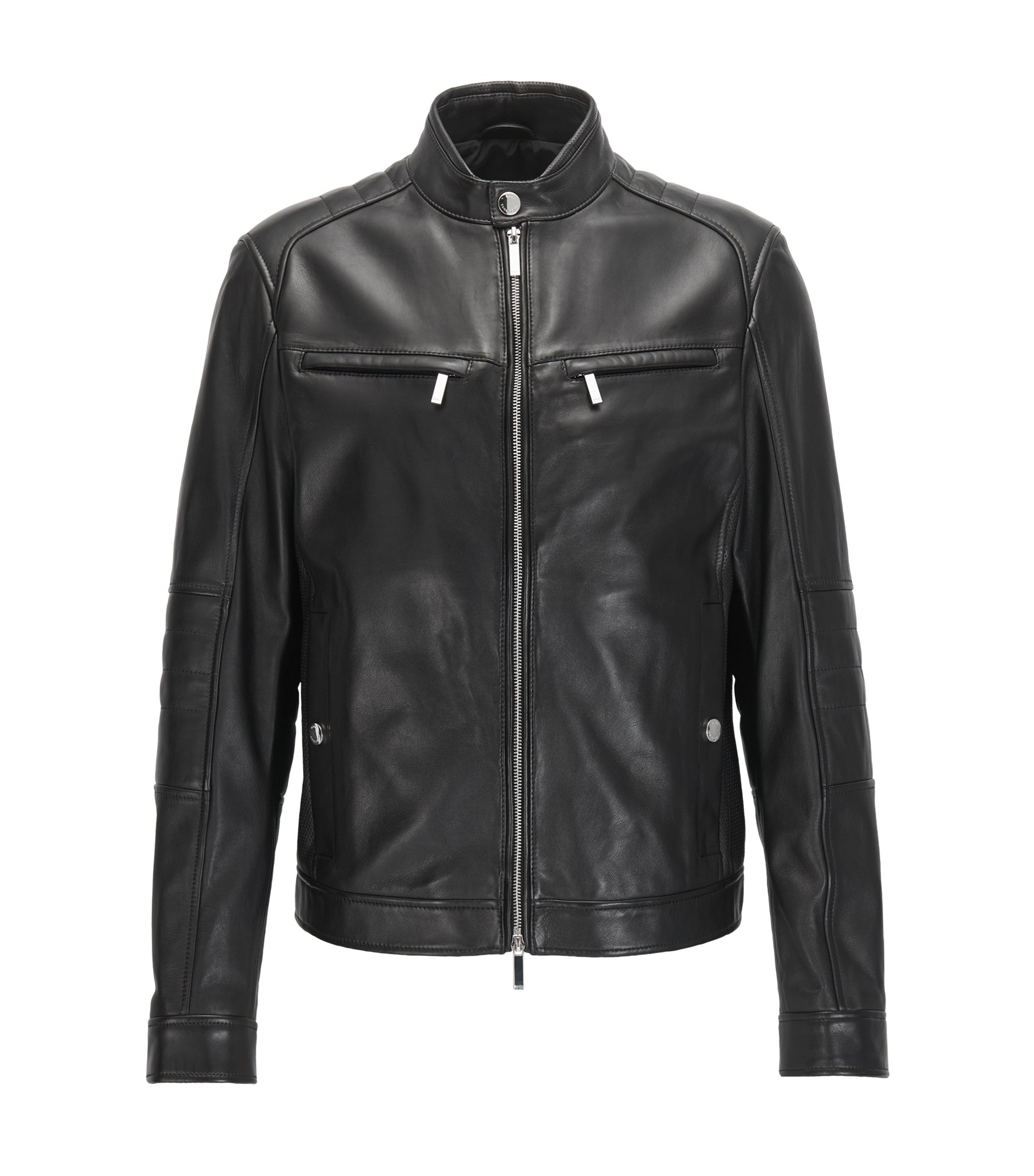 Regular-fit Mercedes-Benz leather jacket, Black