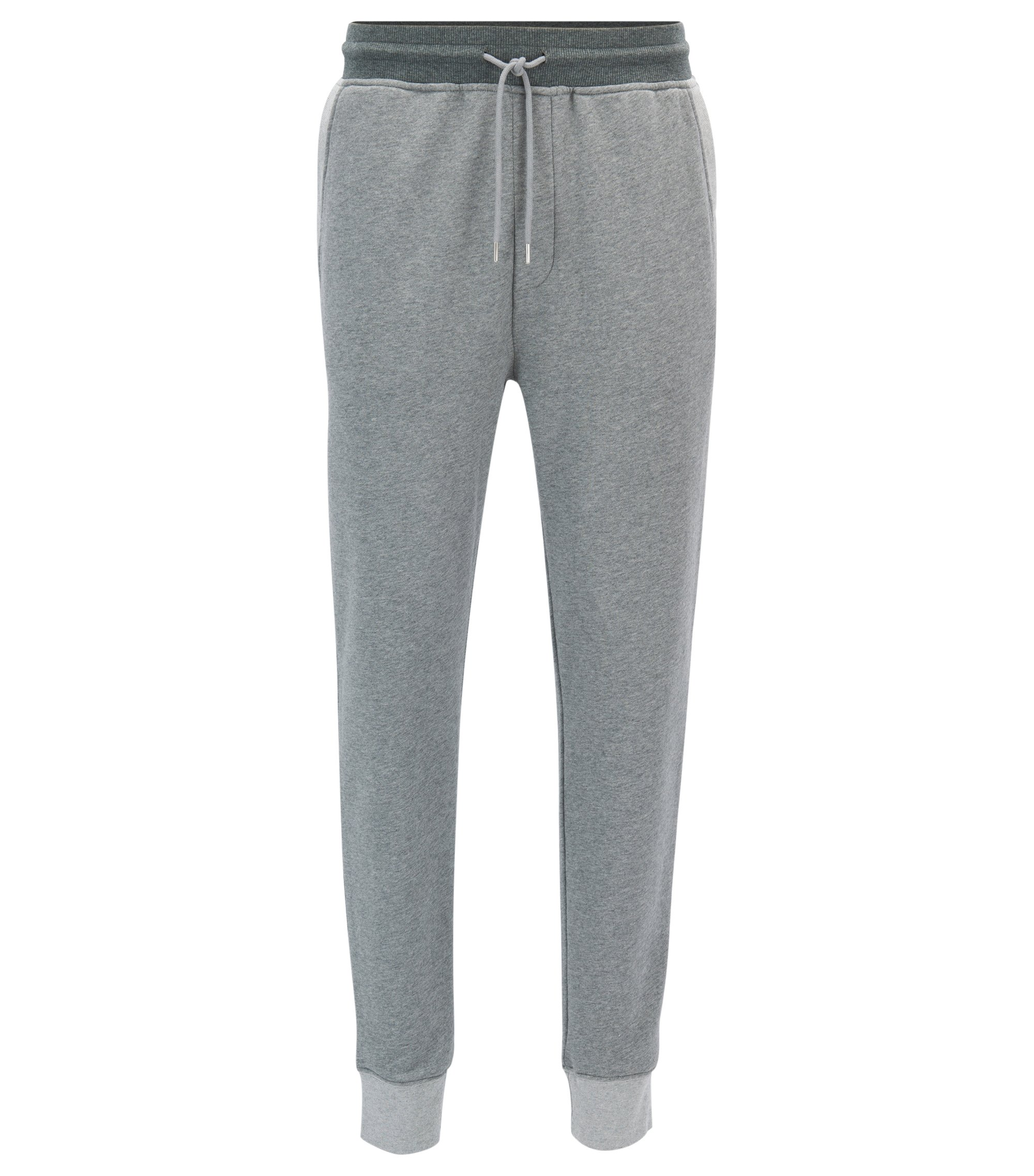 Tapered-fit jogging bottoms in French terry, Light Grey