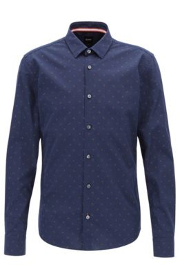 Slim-Fit Hemd aus Baumwolle mit Anker-Print, Dunkelblau
