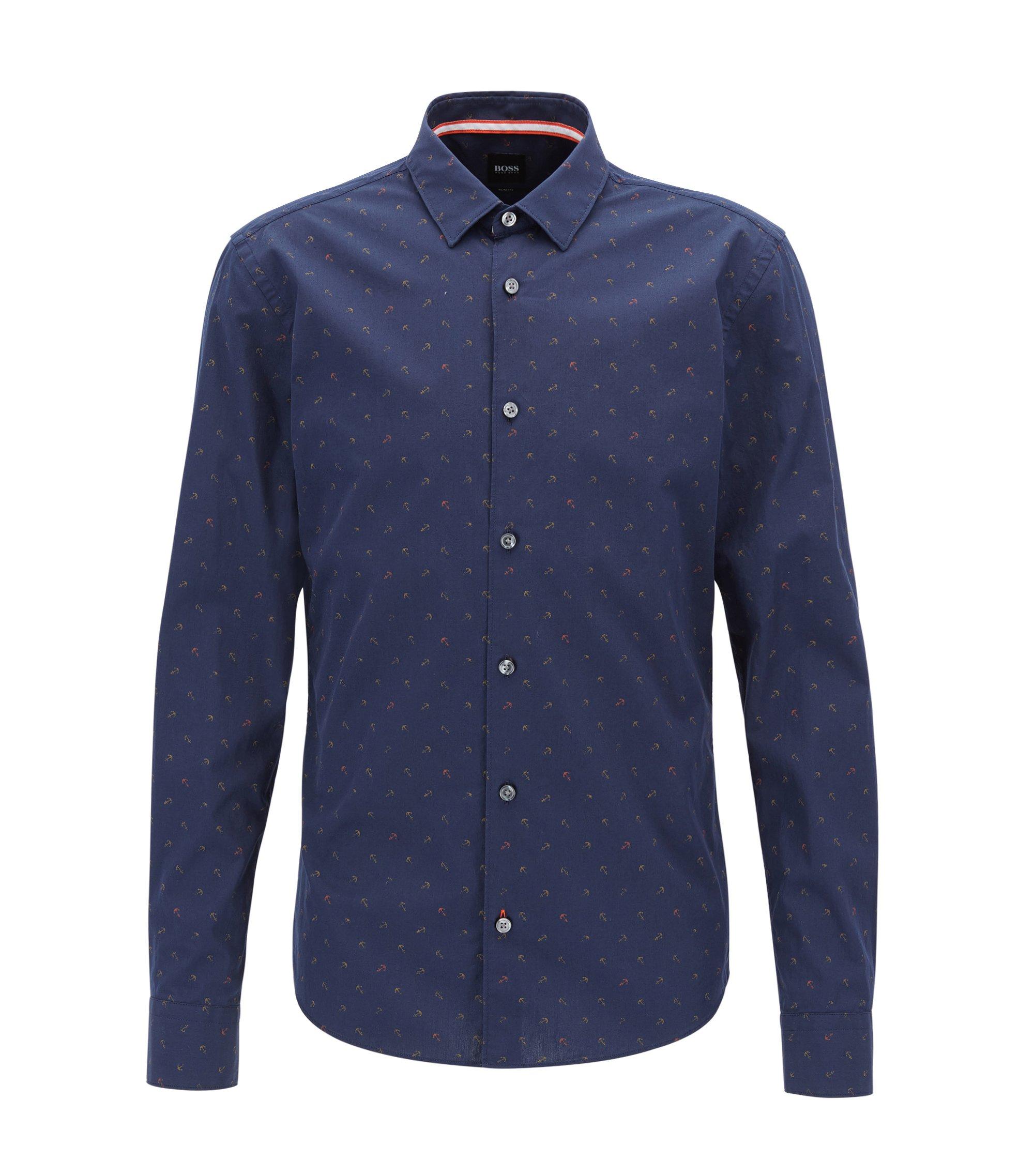 Camicia slim fit in cotone con ancore stampate, Blu scuro