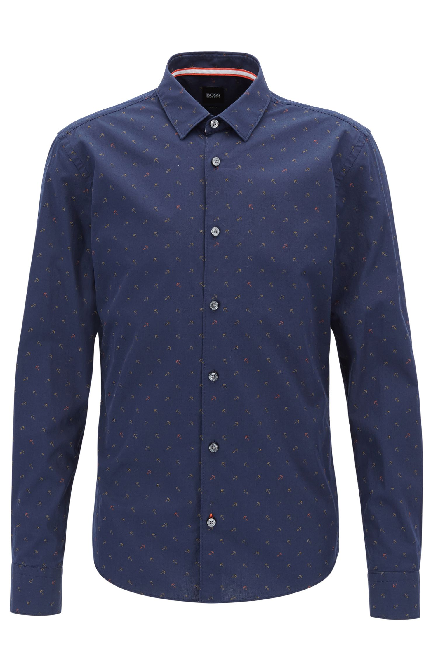 Slim-fit cotton shirt with anchor print