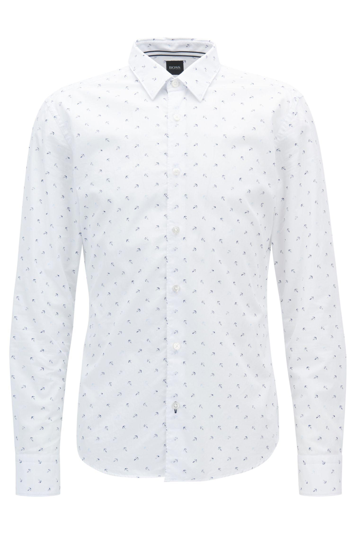 Camisa slim fit de algodón con estampado de ancla