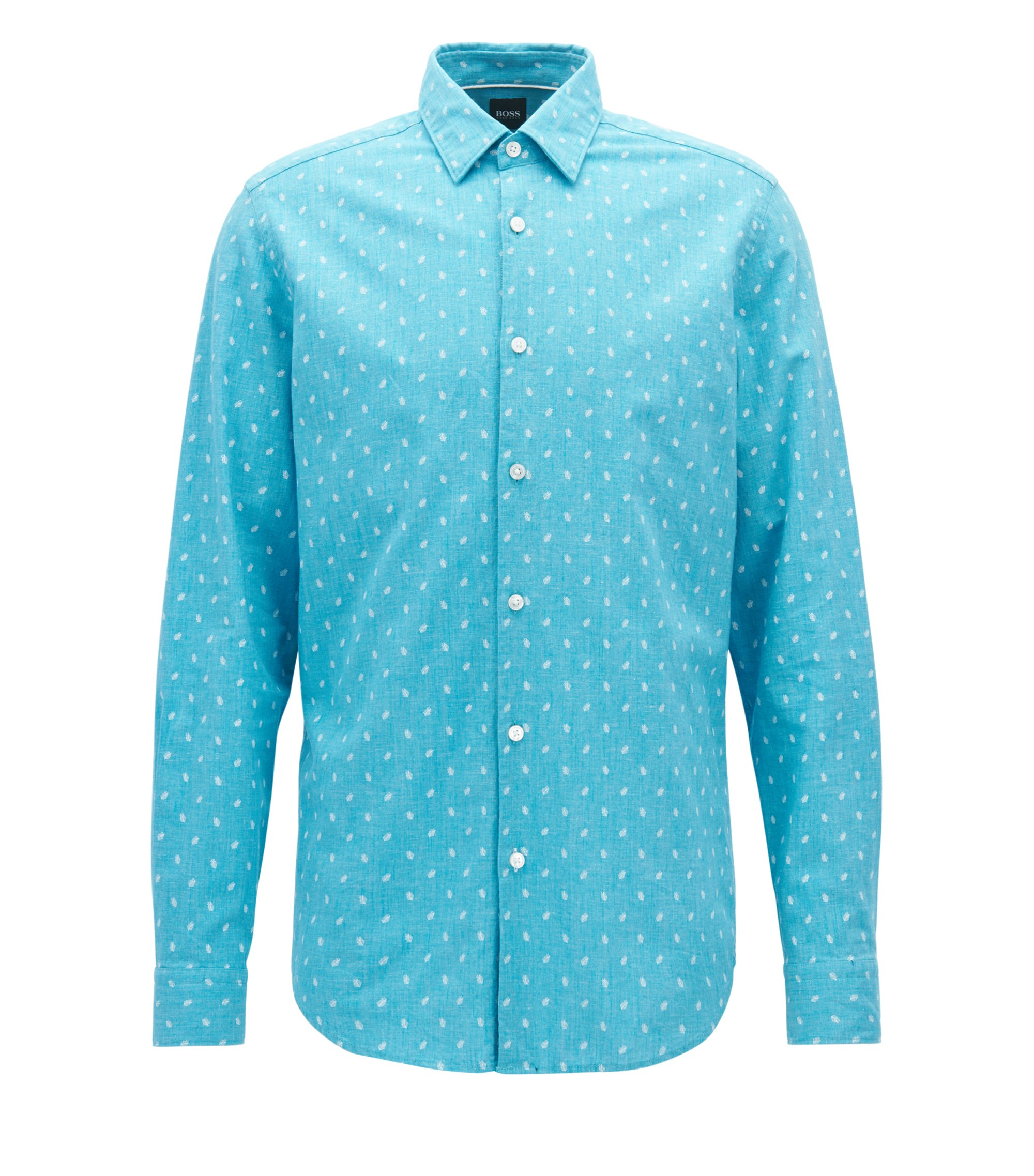 Regular-fit cotton and linen chambray shirt, Light Blue