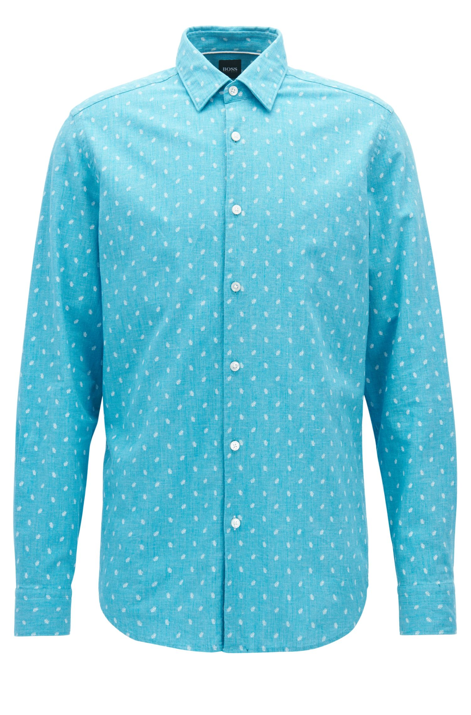 Camicia regular fit in chambray di cotone e lino