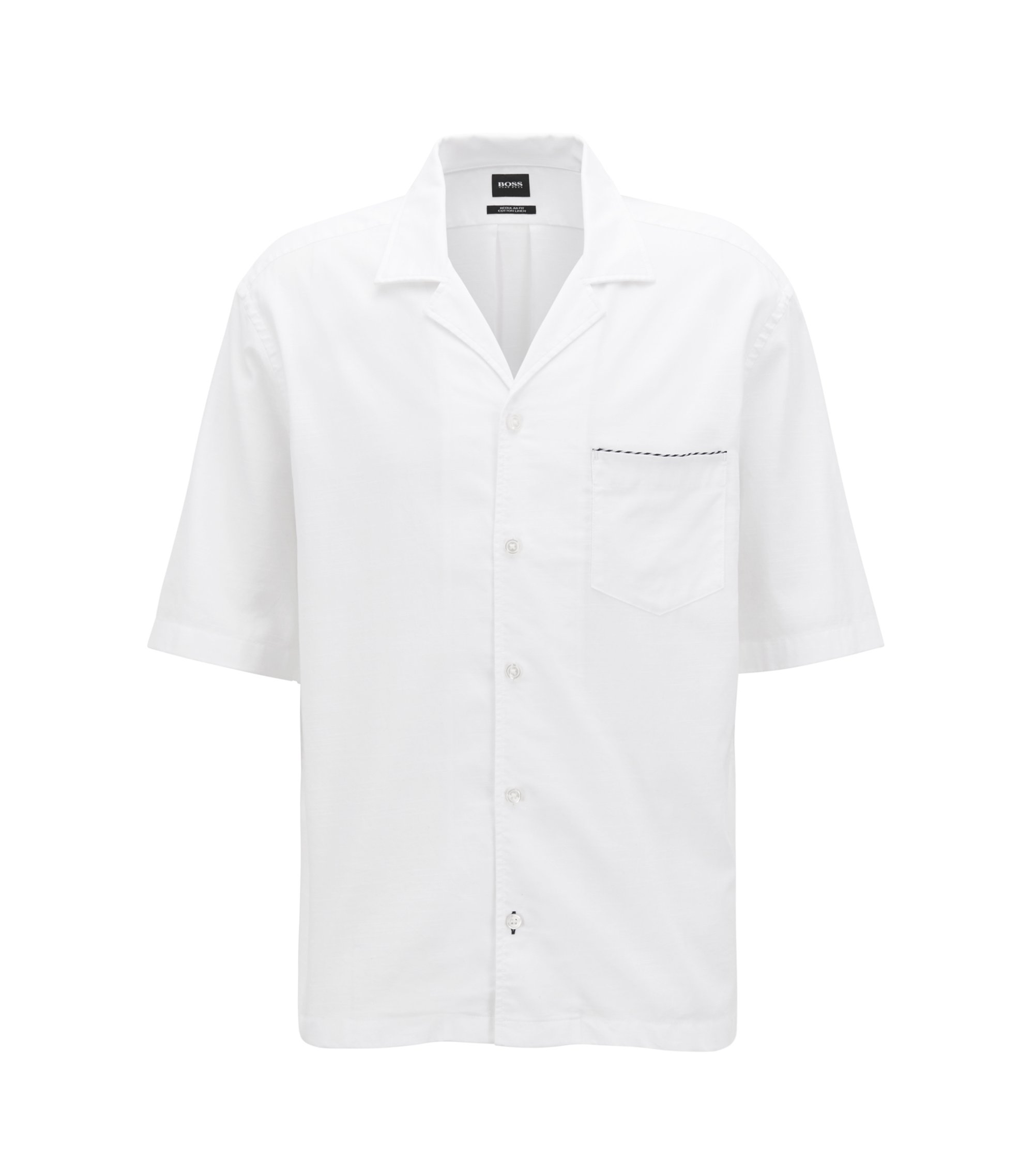 Short-sleeved cotton-blend shirt in a slim fit , White