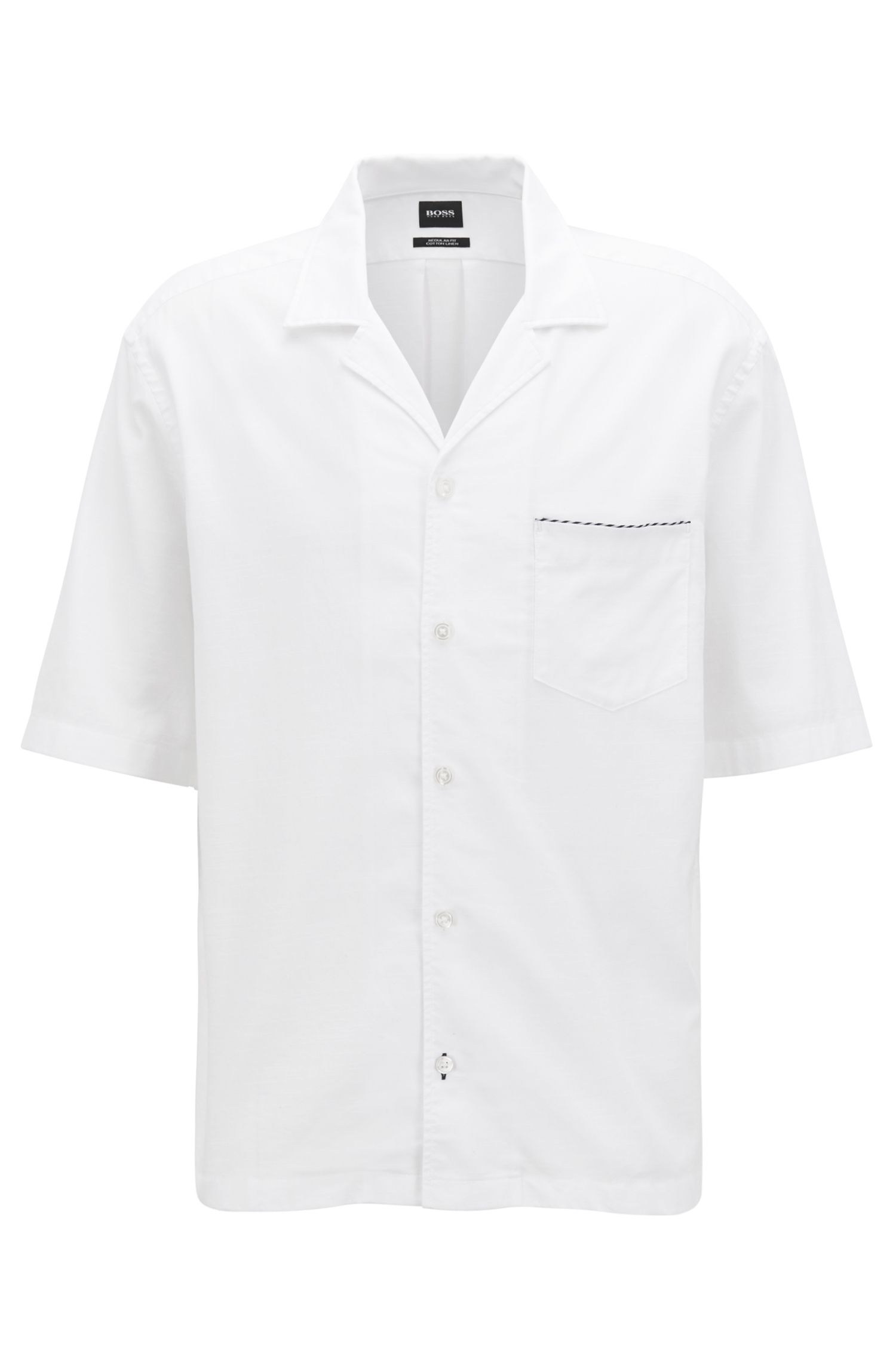 Short-sleeved cotton-blend shirt in a slim fit