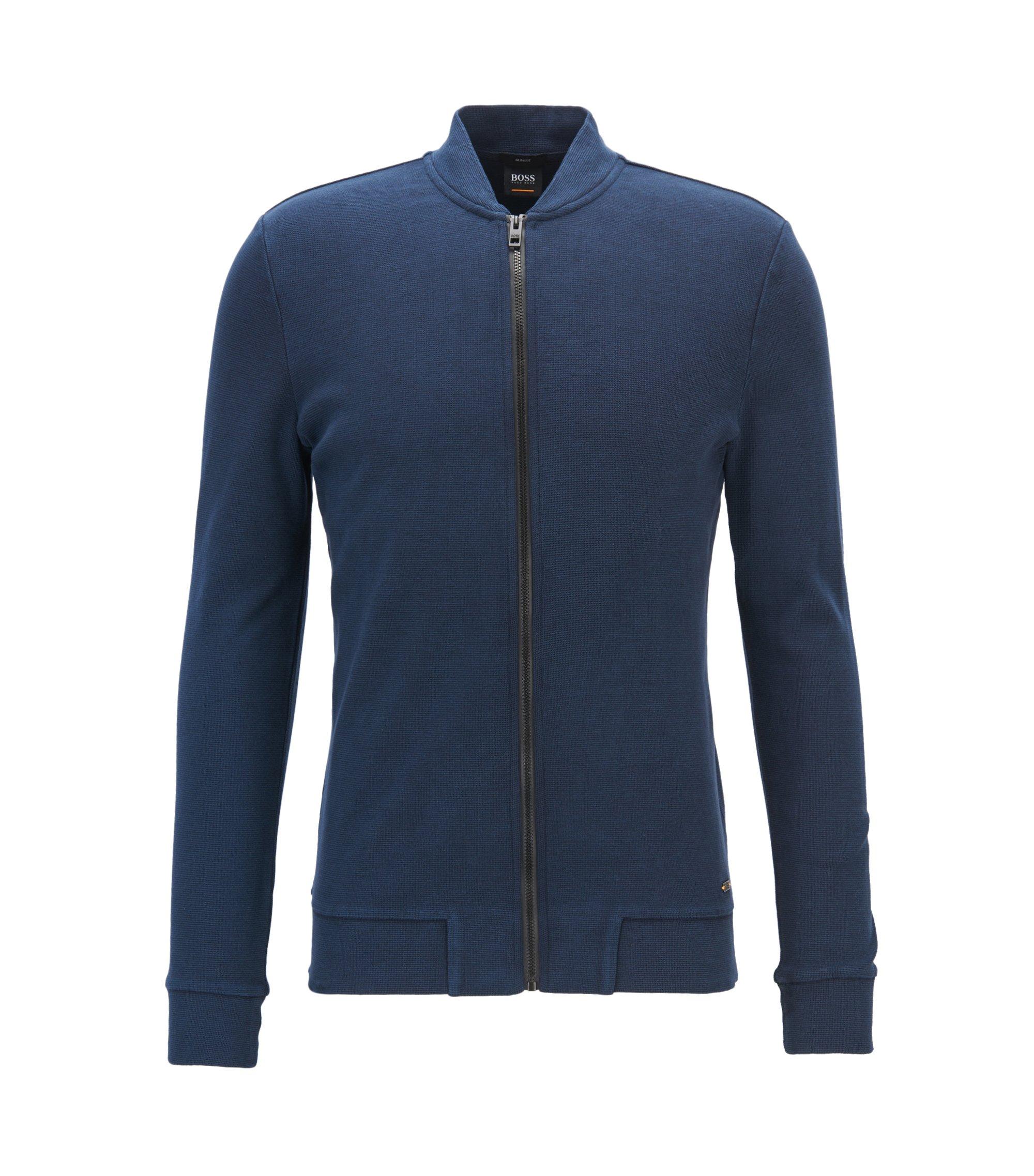 Chaqueta slim fit en algodón elástico con cremallera integral, Azul oscuro