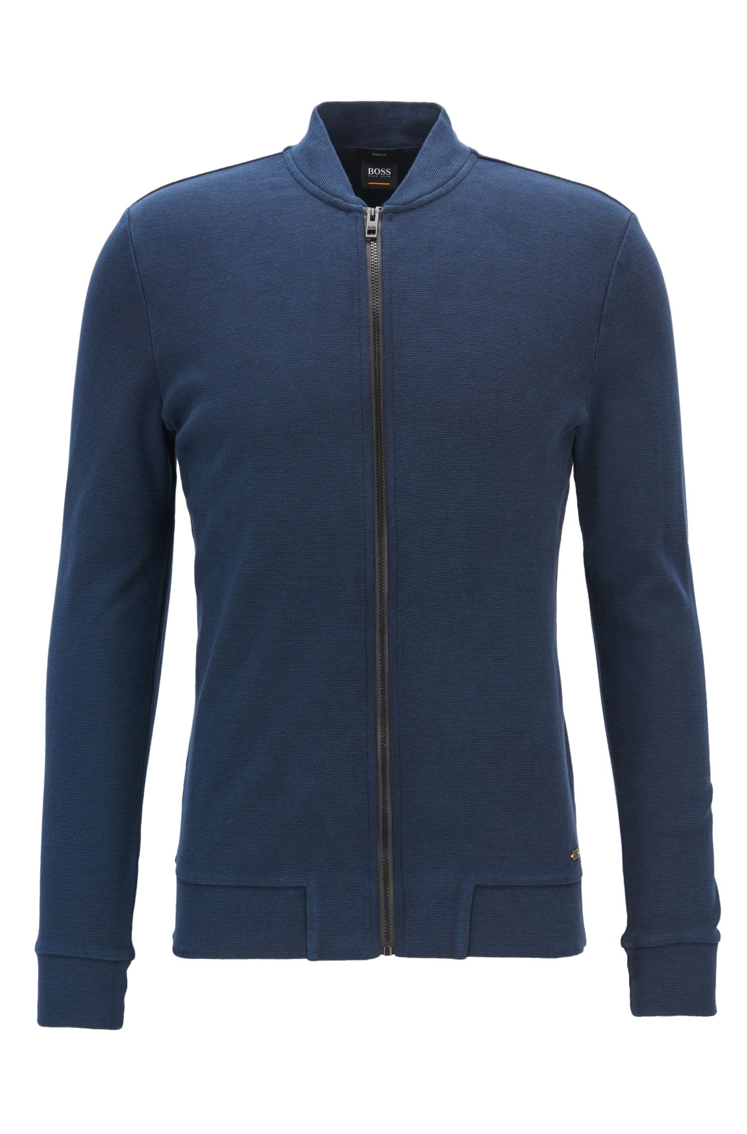 Slim-fit zip-through jacket in stretch cotton