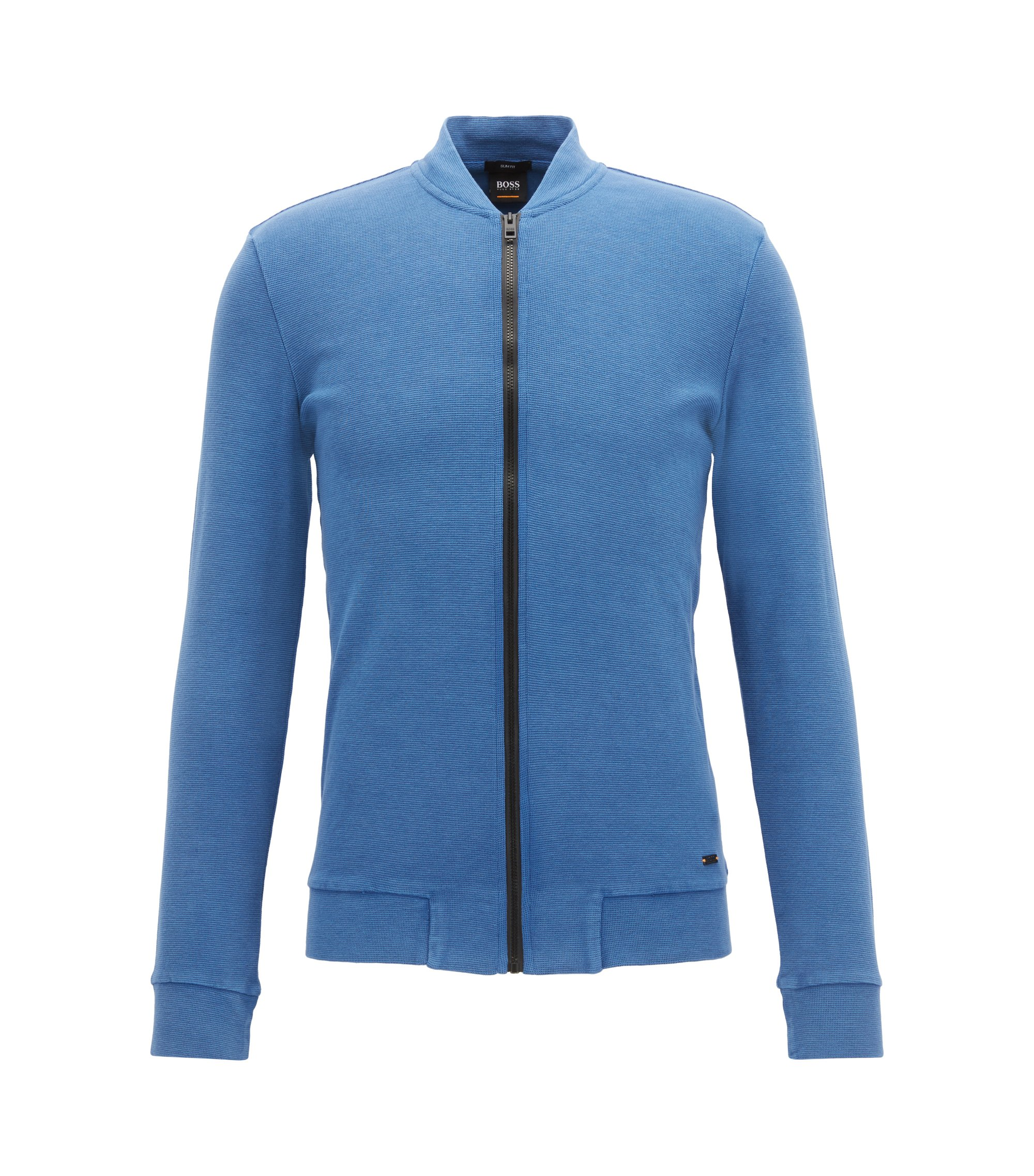 Slim-fit zip-through jacket in stretch cotton, Blue