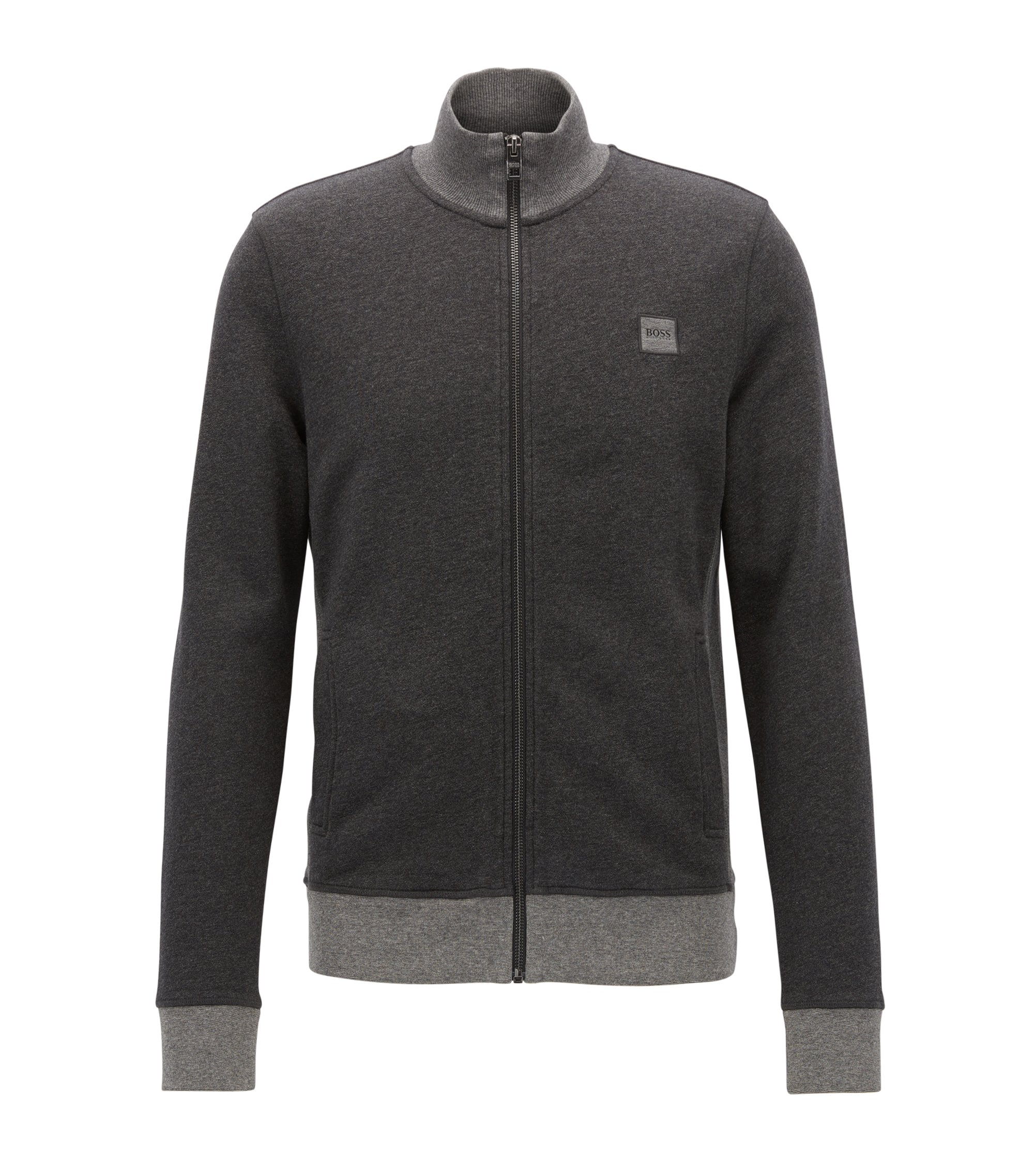 Regular-fit jacket in heathered French terry, Black