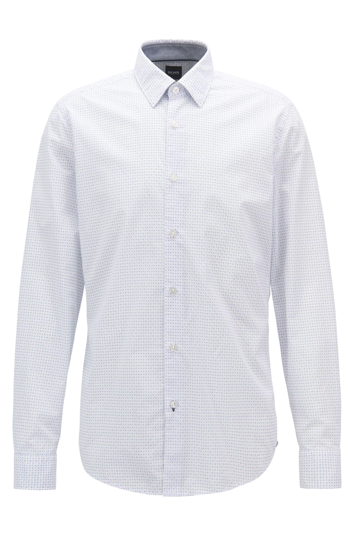 Regular-Fit Hemd aus Baumwoll-Popeline mit geometrischem Print