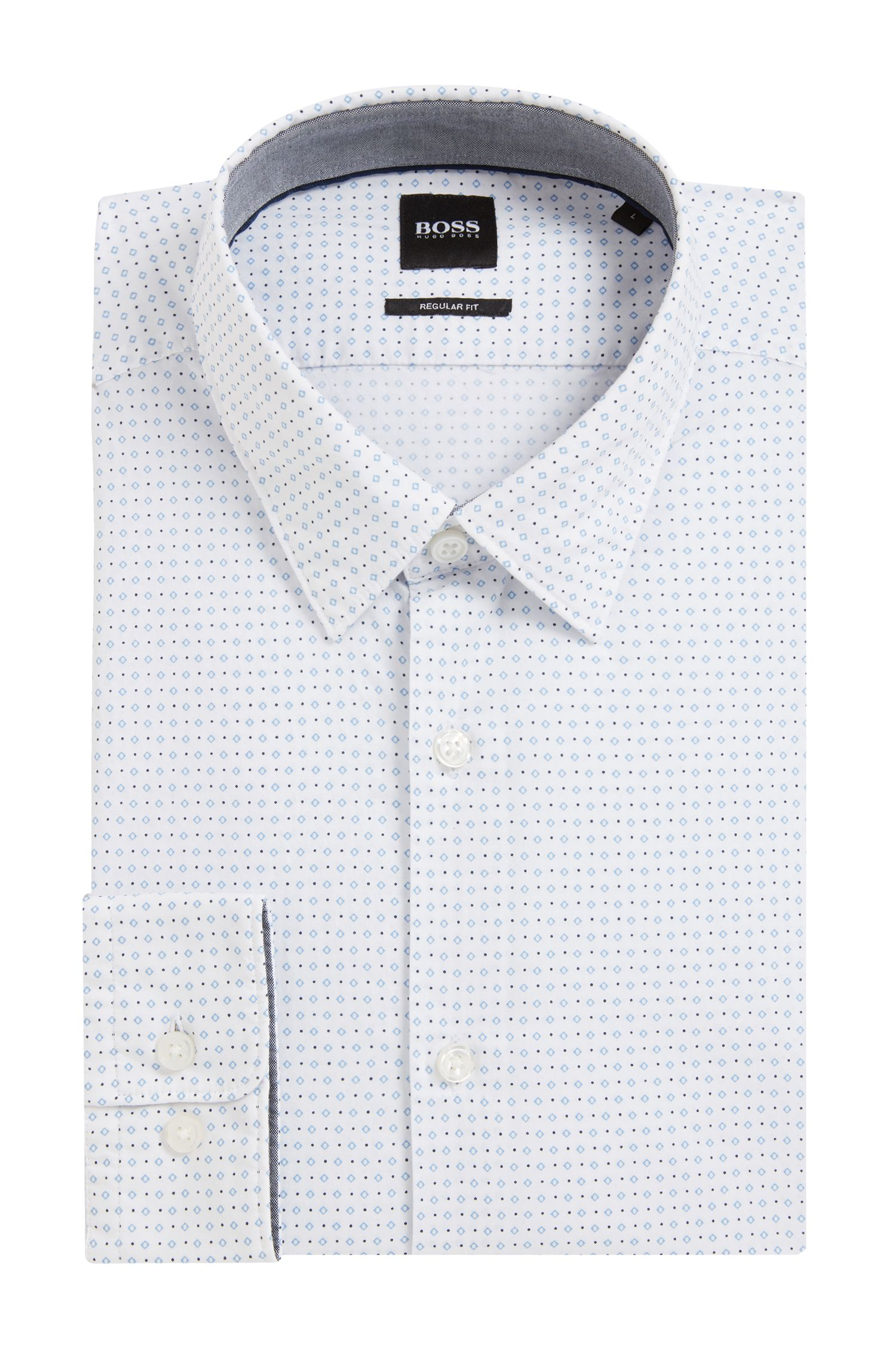 Regular-fit shirt in geometric-print cotton poplin