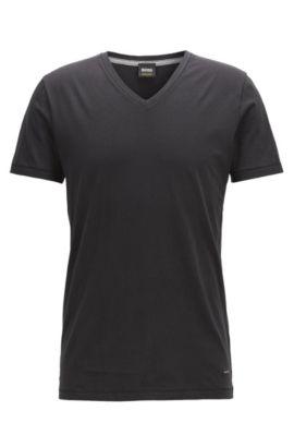 Regular-fit T-shirt van katoen met V-hals, Zwart
