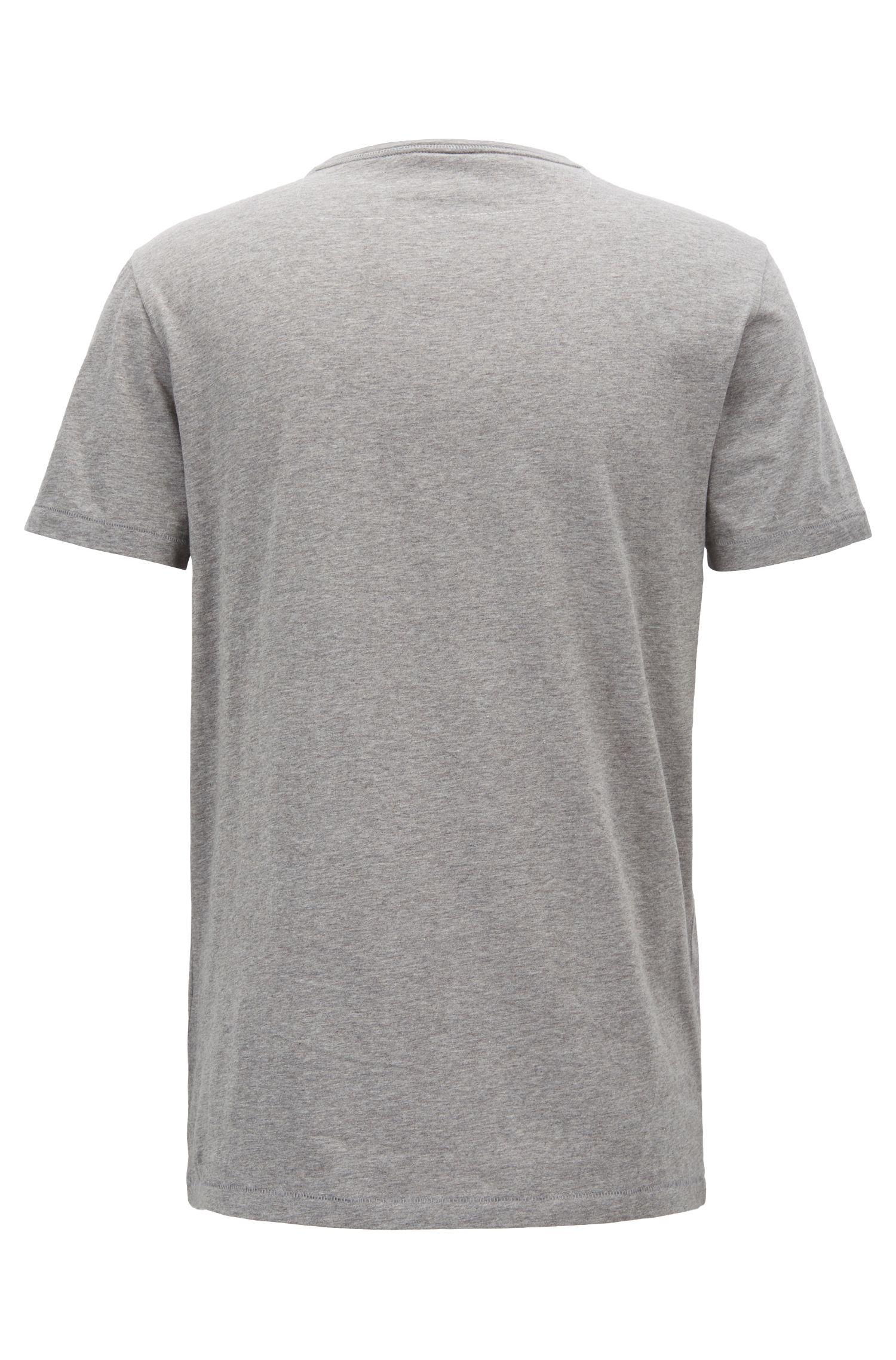 Regular-fit T-shirt van katoen met V-hals, Lichtgrijs