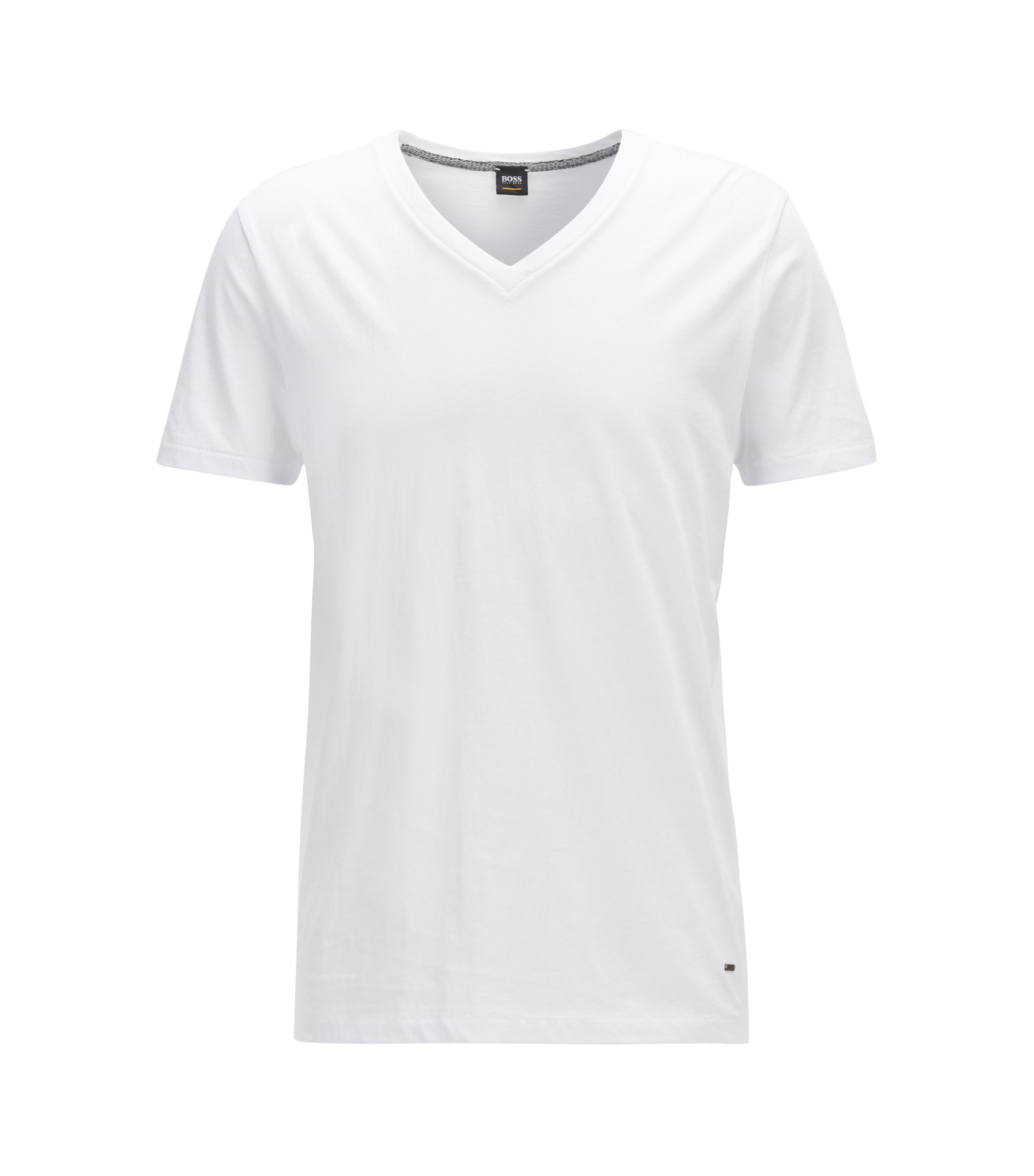 T-shirt Regular Fit à col V en coton, Blanc