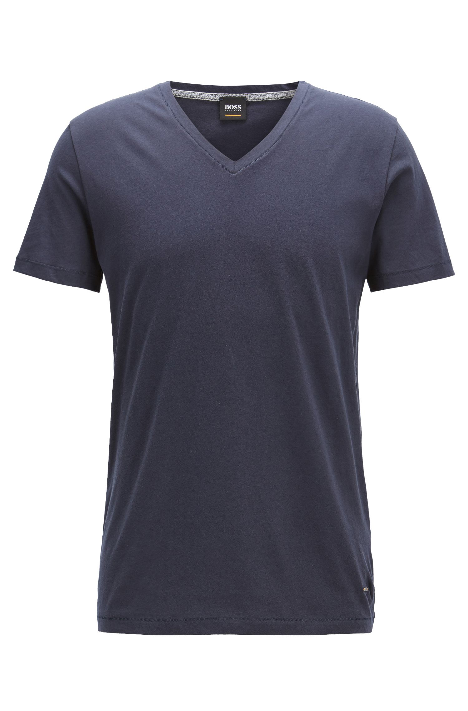 Regular-fit T-shirt van katoen met V-hals