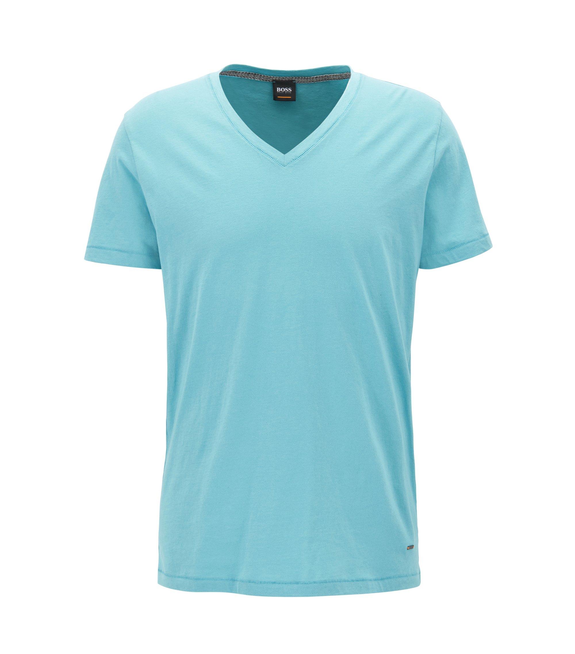 Regular-fit T-shirt van katoen met V-hals, Turkoois
