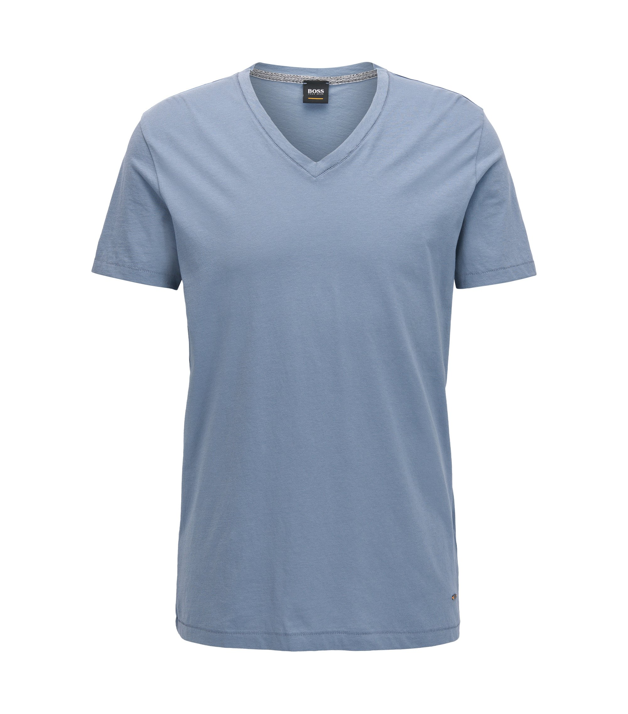 T-shirt Regular Fit à col V en coton, Bleu