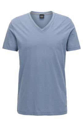 Regular-fit T-shirt van katoen met V-hals, Lichtblauw
