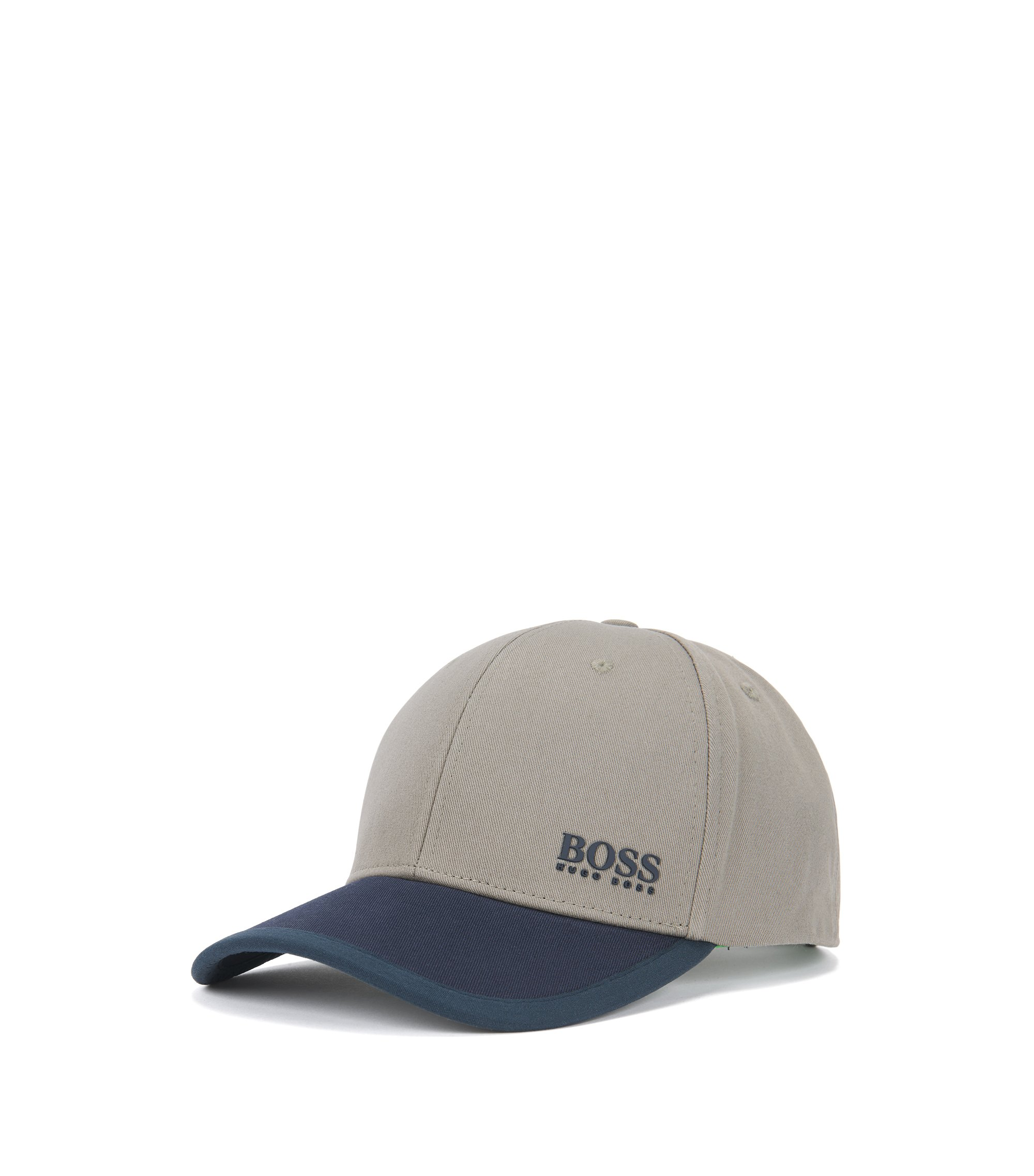 Colour-block baseball cap in cotton twill, Beige