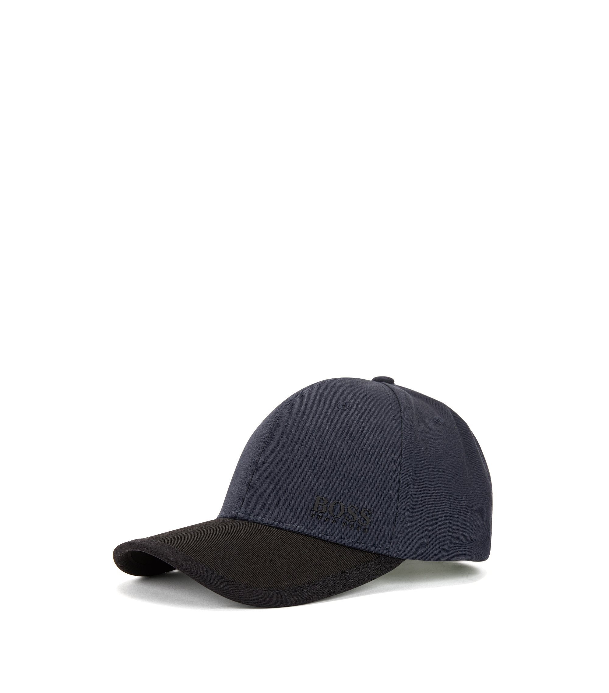Colour-block baseball cap in cotton twill, Dark Blue