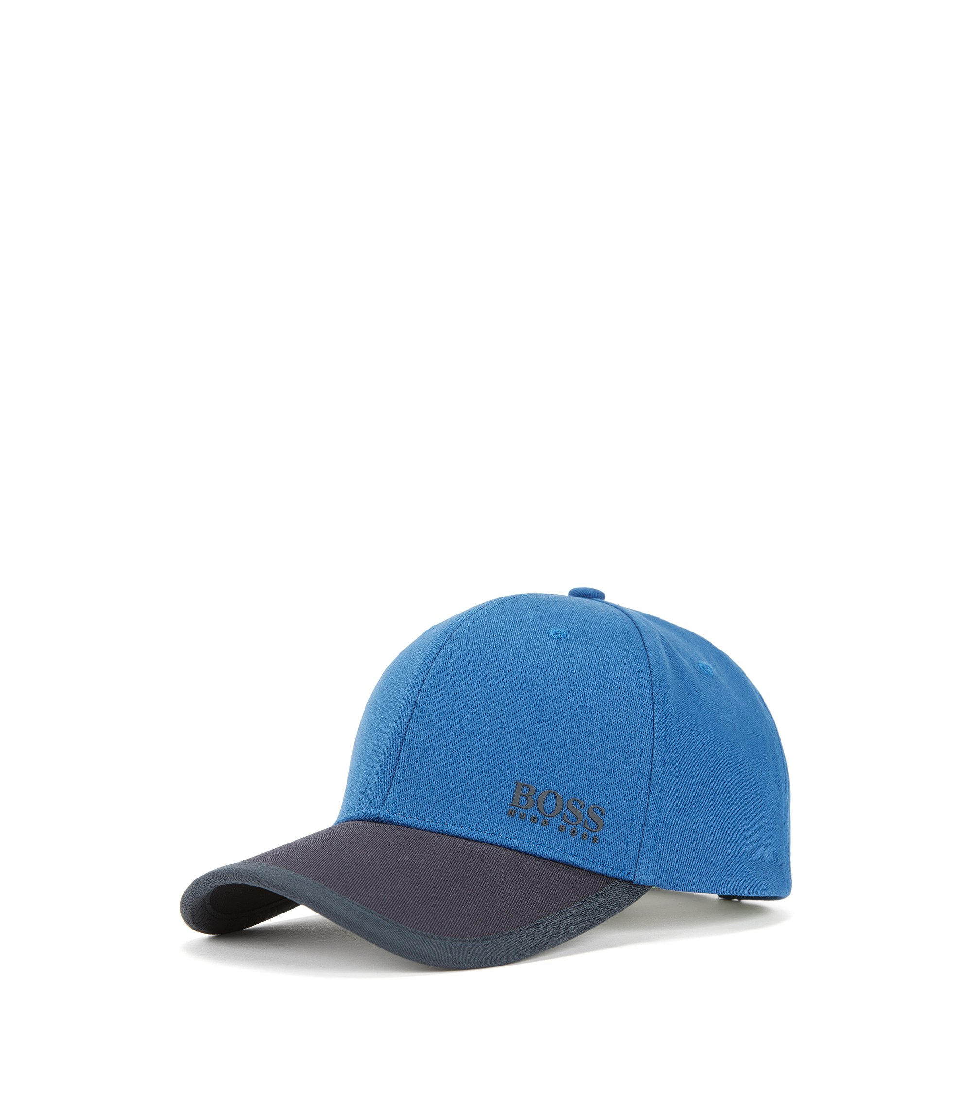 Colour-block baseball cap in cotton twill, Blue