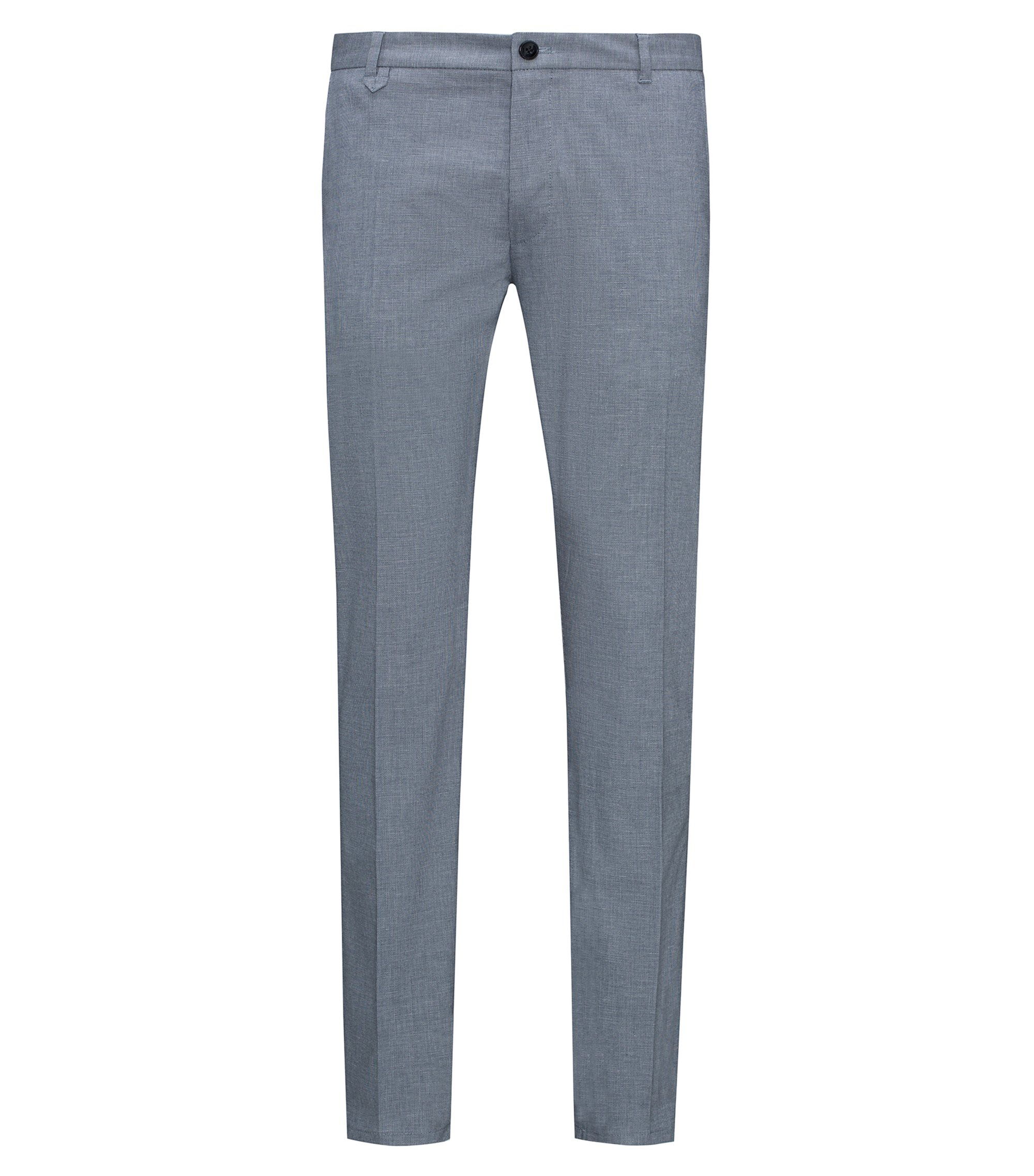 Extra-slim-fit trousers in micro-structure stretch cotton, Dark Blue