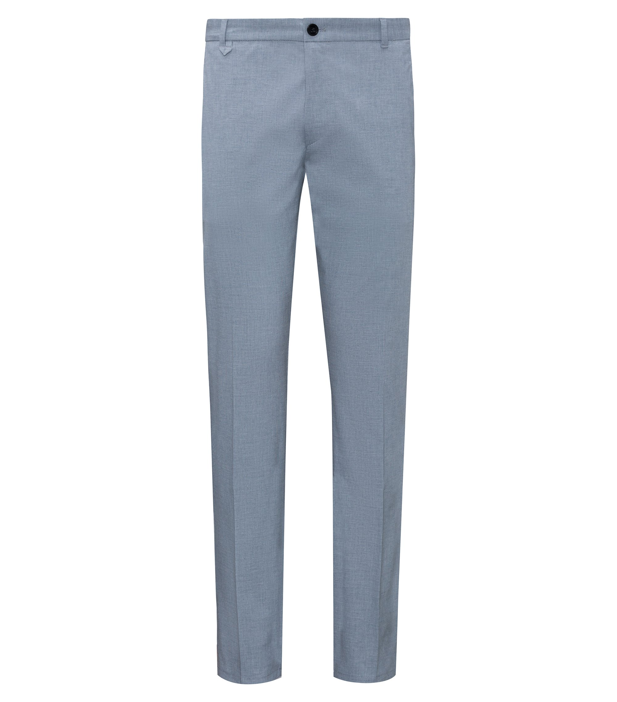 Pantalon Extra Slim Fit en coton stretch micro-structuré, Turquoise