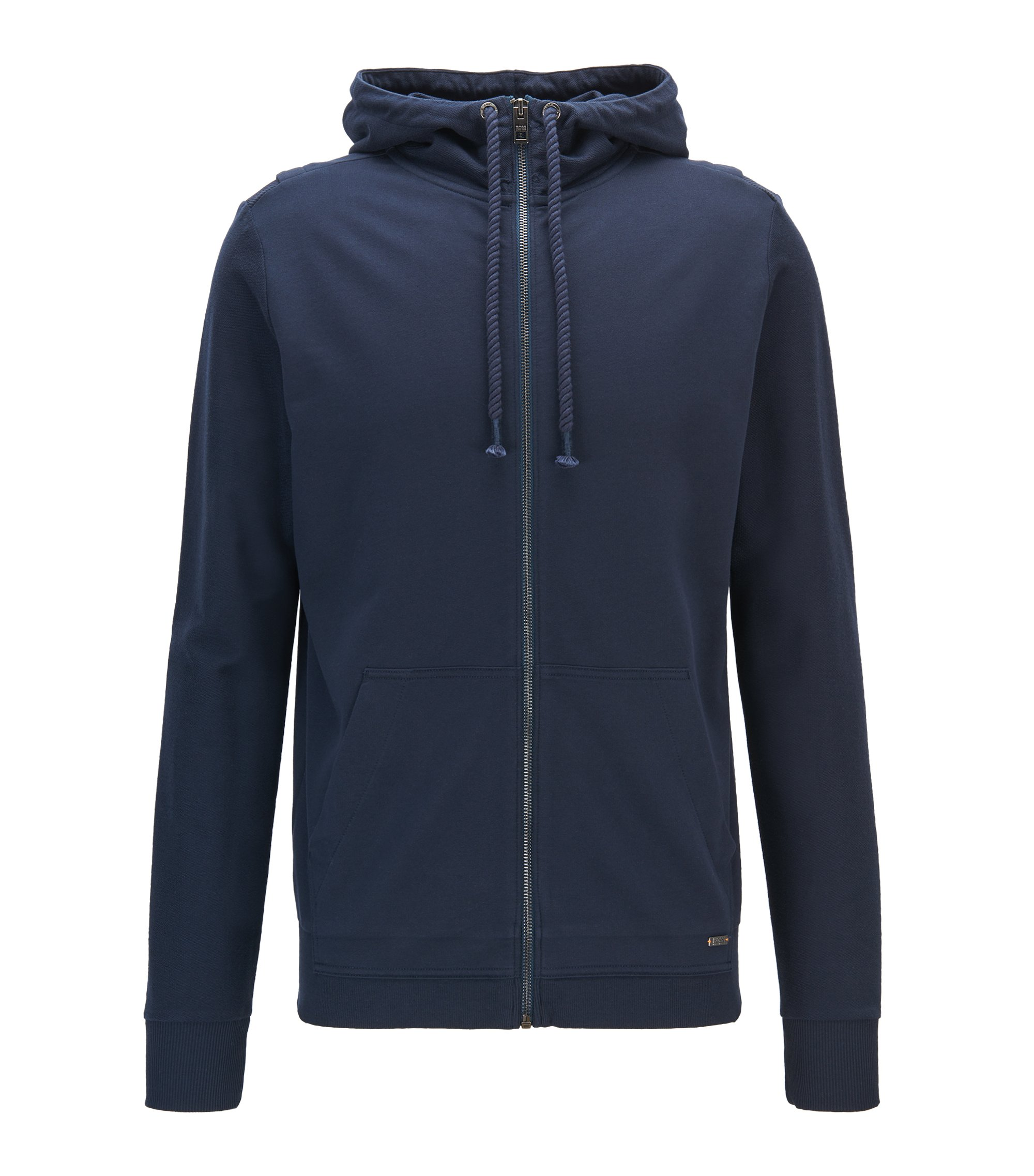 Hooded French-terry jacket with contrast panelling, Dark Blue
