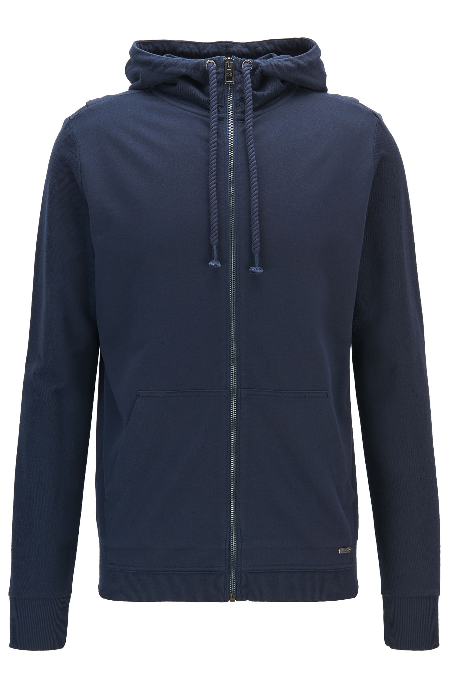 Hooded French-terry jacket with contrast panelling