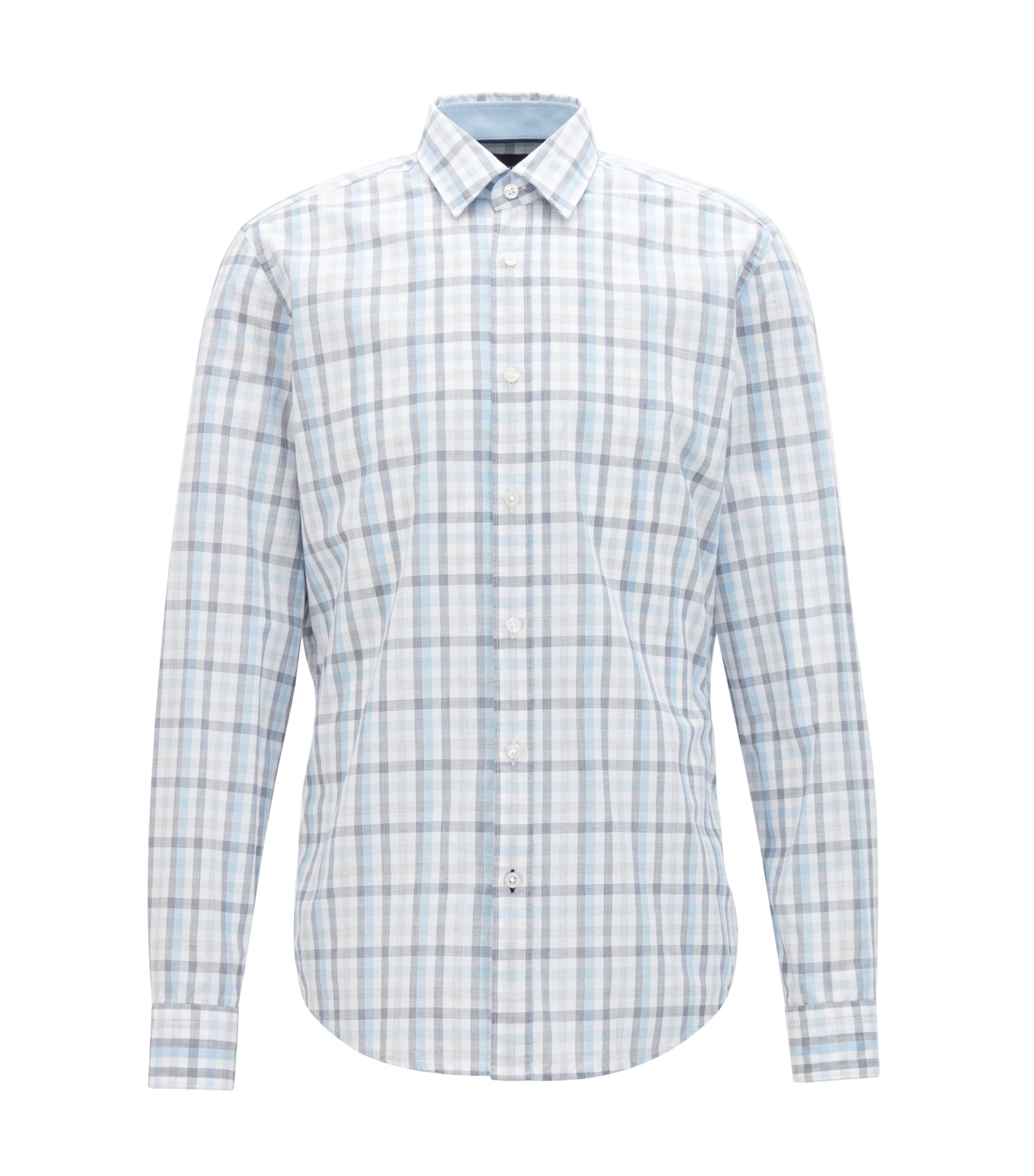 Regular-fit cotton shirt with a Vichy check, White