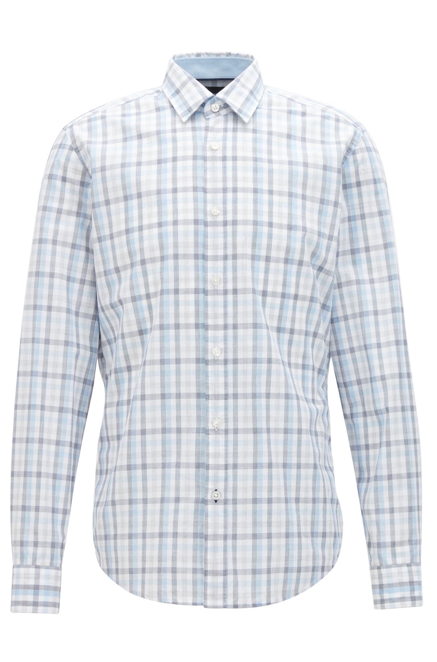 Regular-fit cotton shirt with a Vichy check